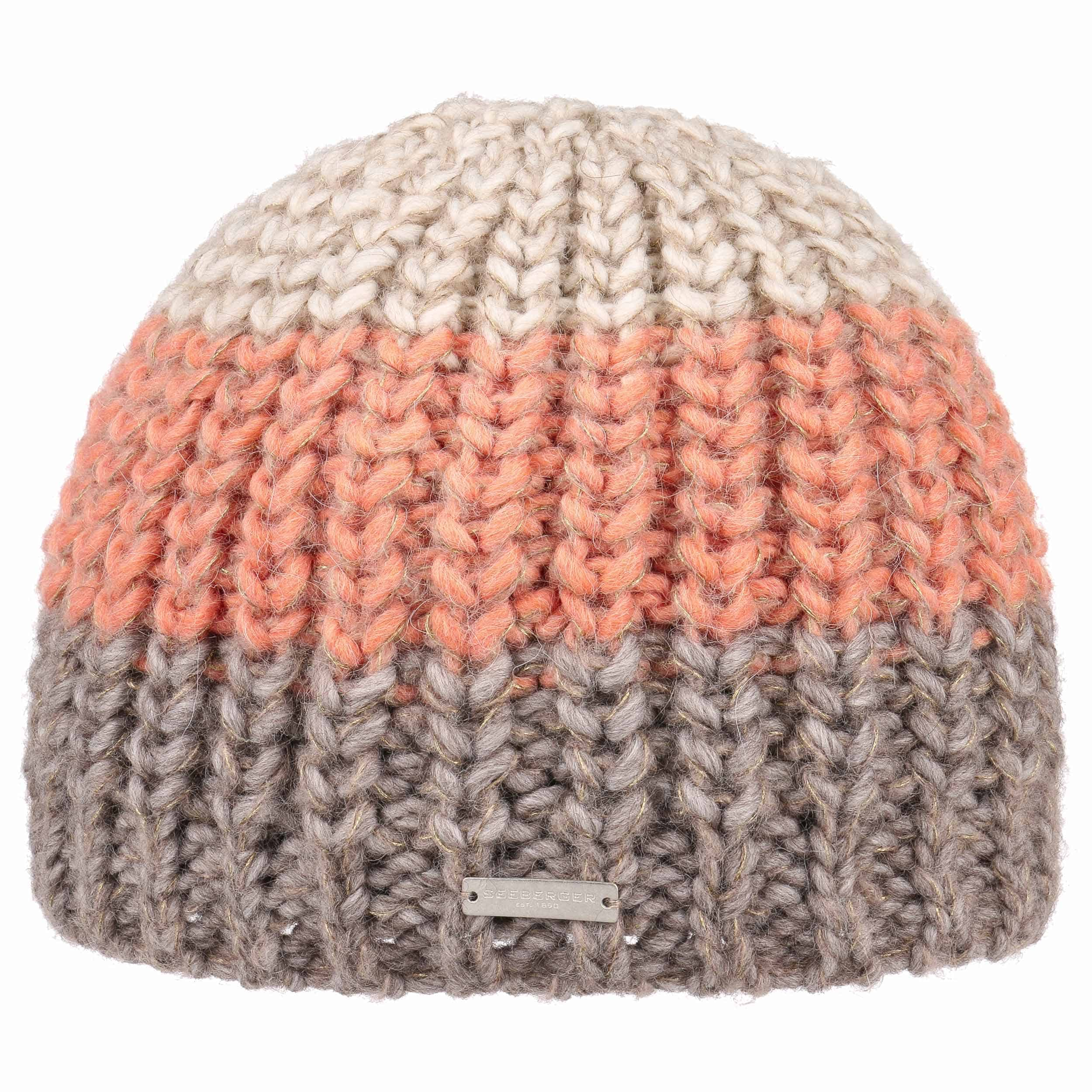 ... Alpaca Mohair Lurex Beanie Hat by Seeberger - apricot 3 ... 6d2b282408f