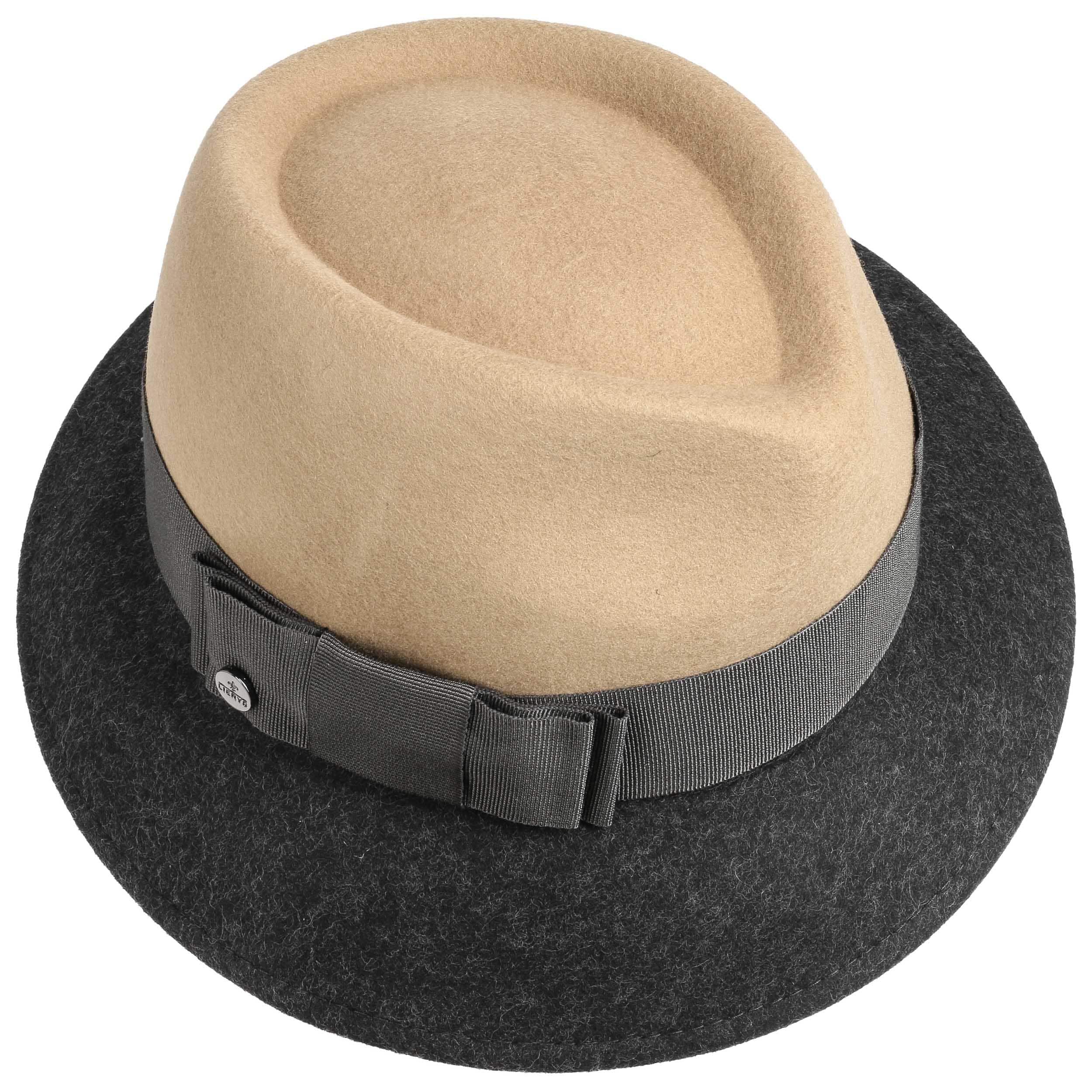Asym Twotone Wool Felt Hat by Lierys Trilby hats Lierys Sale Order FDFIt