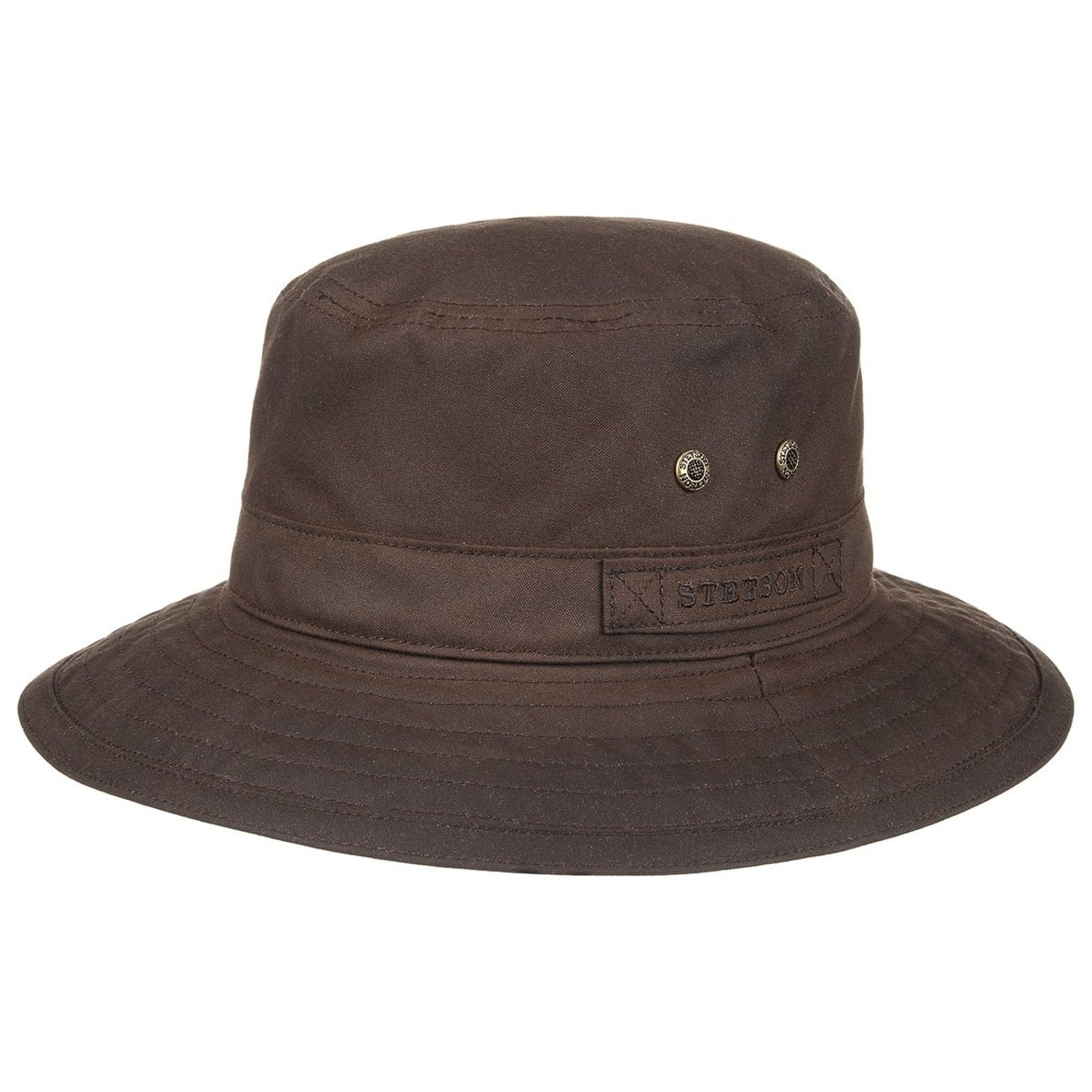 bd6047aa16 ... Atkins Waxed Cotton Bucket Hat by Stetson - brown 6 ...