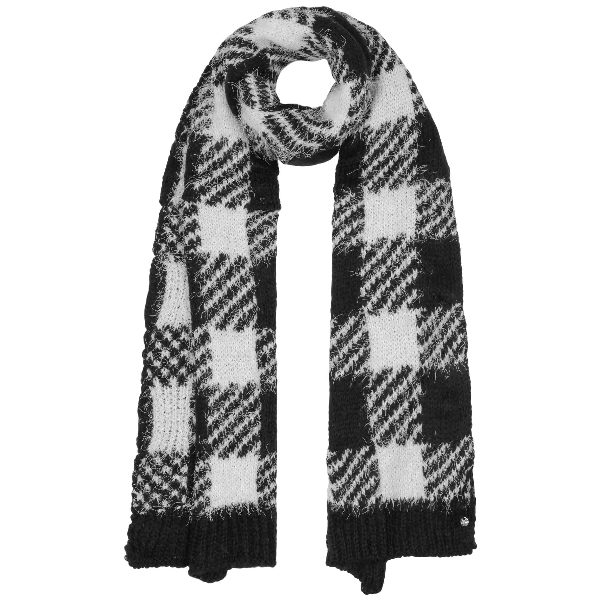 6db8a9d426d ... Big Checker Knit Scarf - white-black 2