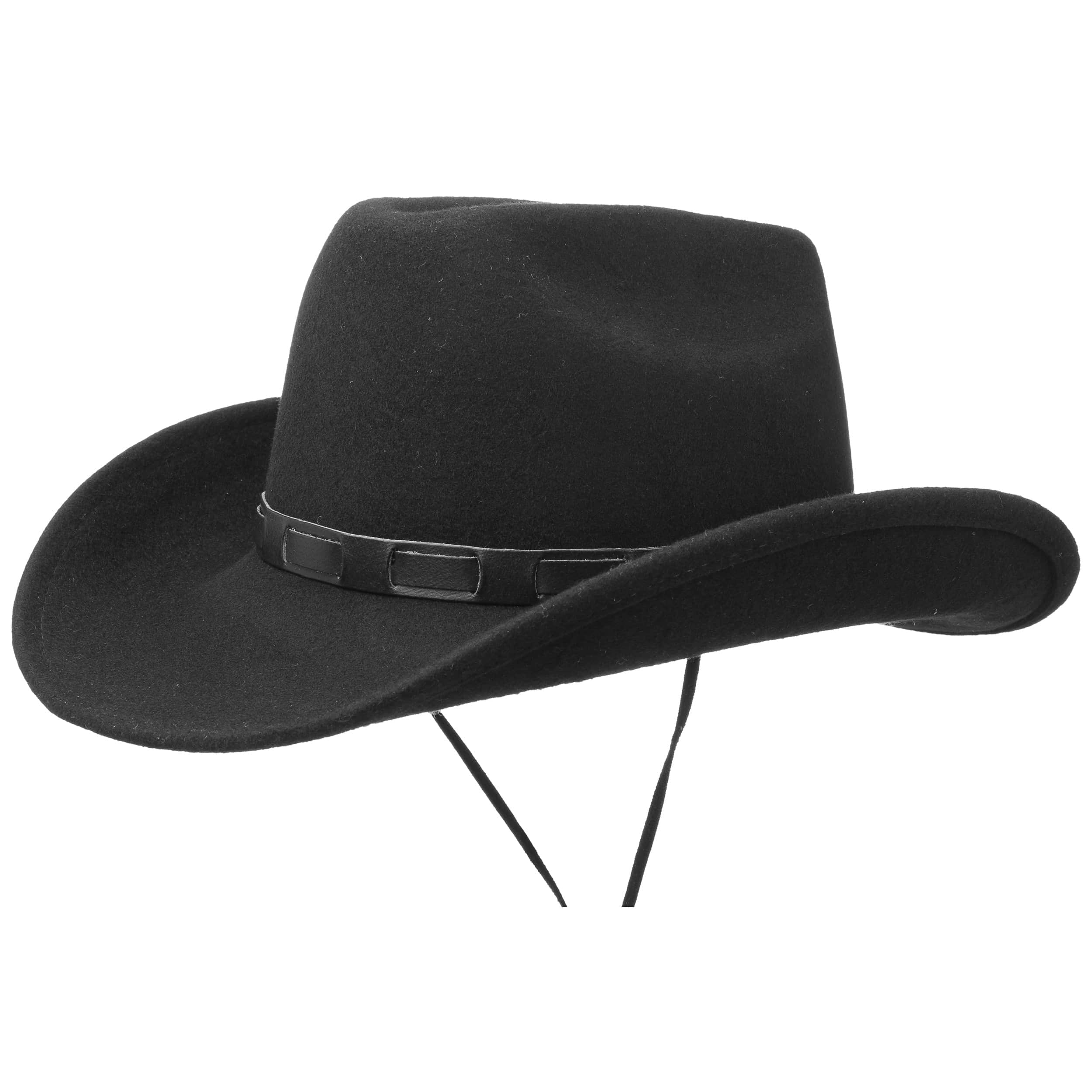 0ddee52e607 ... Bill Cody Western Hat with Chin Strap by Lipodo - black 4 ...