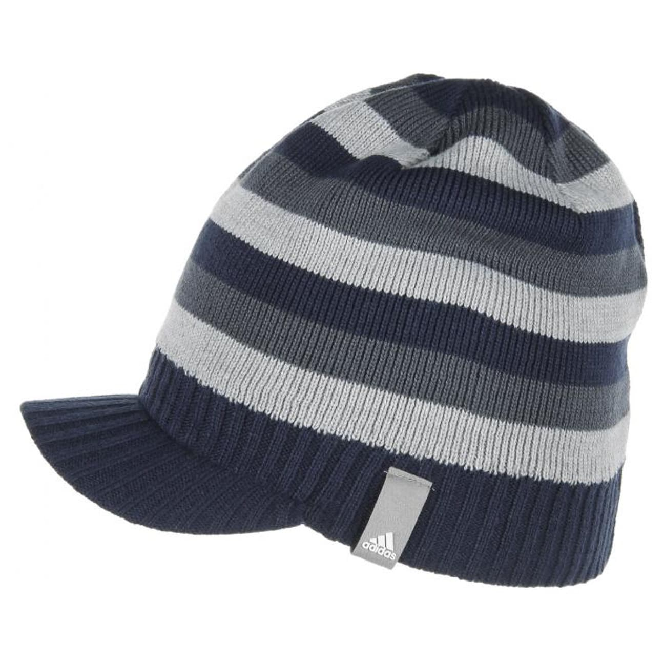 Block Stripy Visor Beanie by adidas - blue 1 ... 5e892d5a089