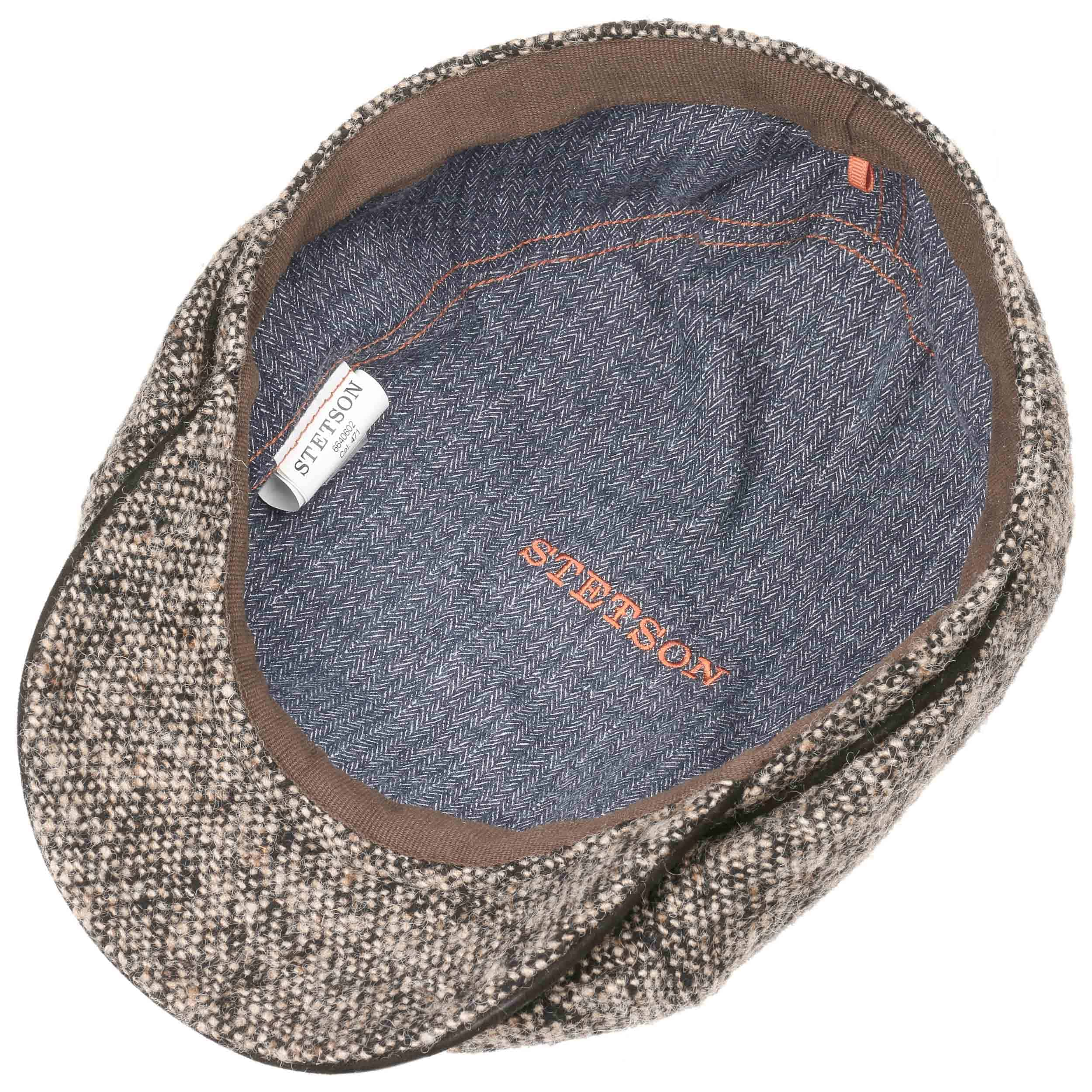 a817a674cb1 ... Brooklin Virgin Wool Flat Cap by Stetson - dark beige 3 ...