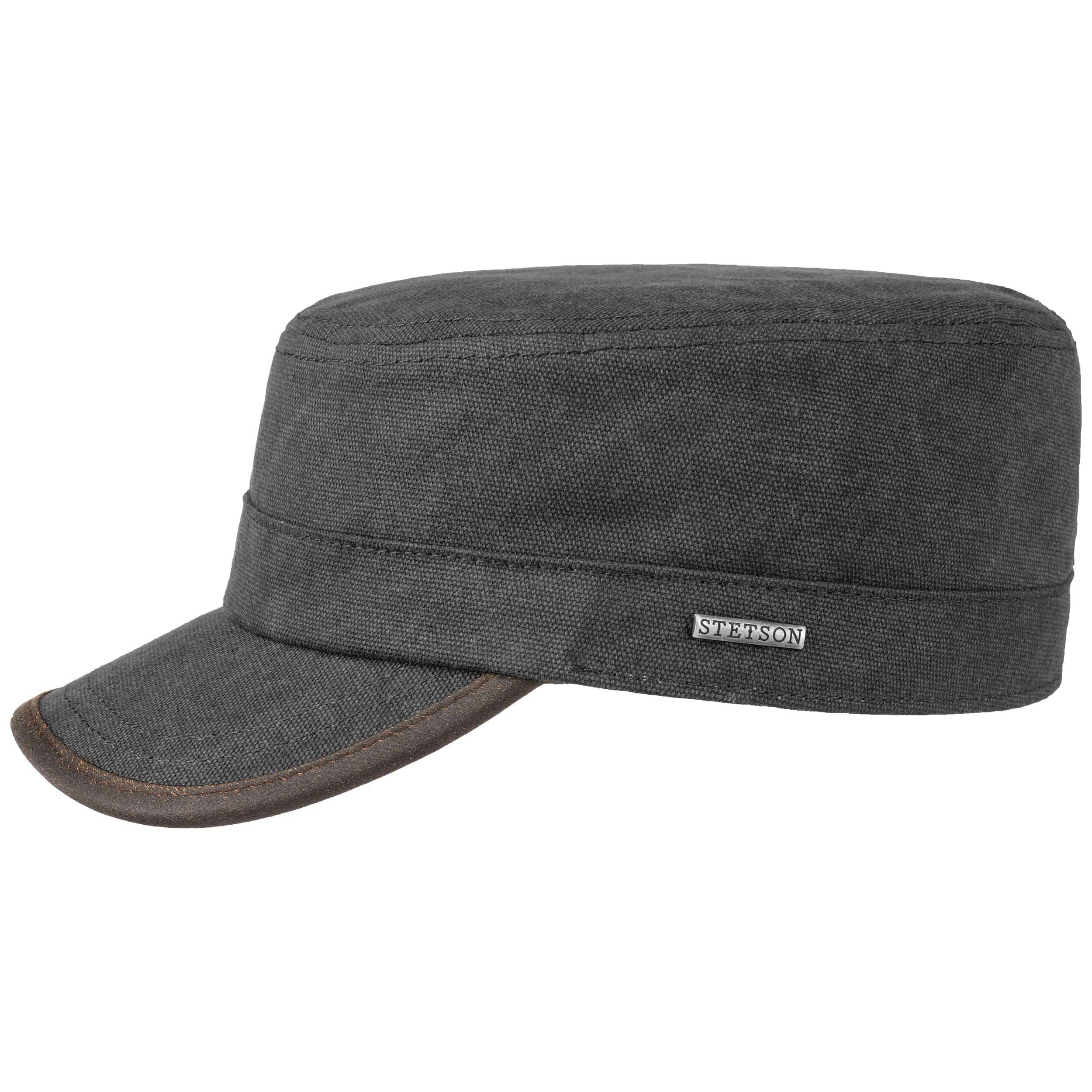 Canvas Army Cap Fleece Lining by Stetson - anthracite 1 ... 5bc33e350f1