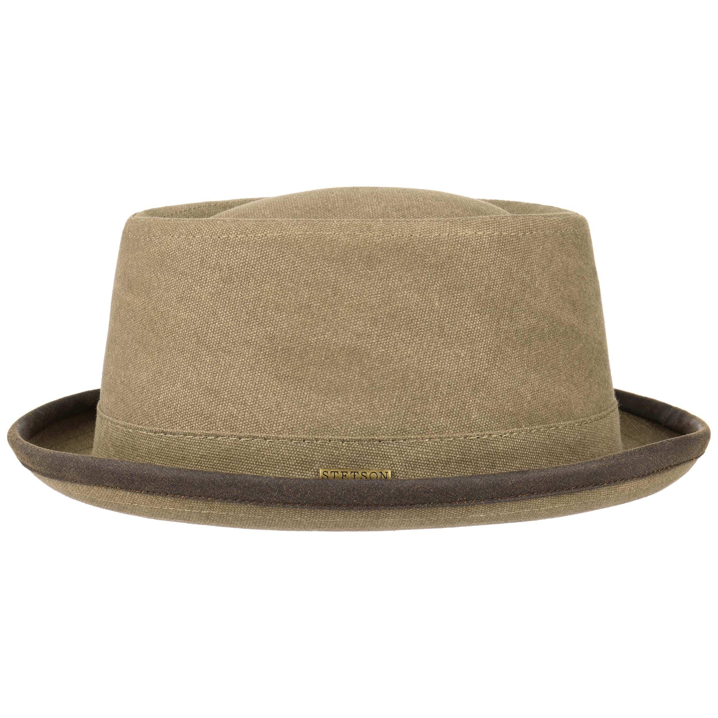 Canvas Pork Pie Hat by Stetson - light olive 1 speical  73a62 1c5e5 Sales  ... 03fac9c3b30
