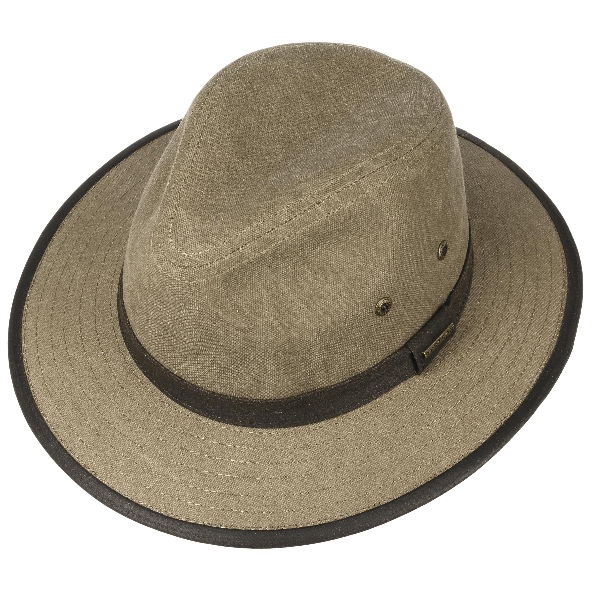 71c5a67fb9ed9 Canvas Traveller Cotton Hat by Stetson - light olive 1 ...