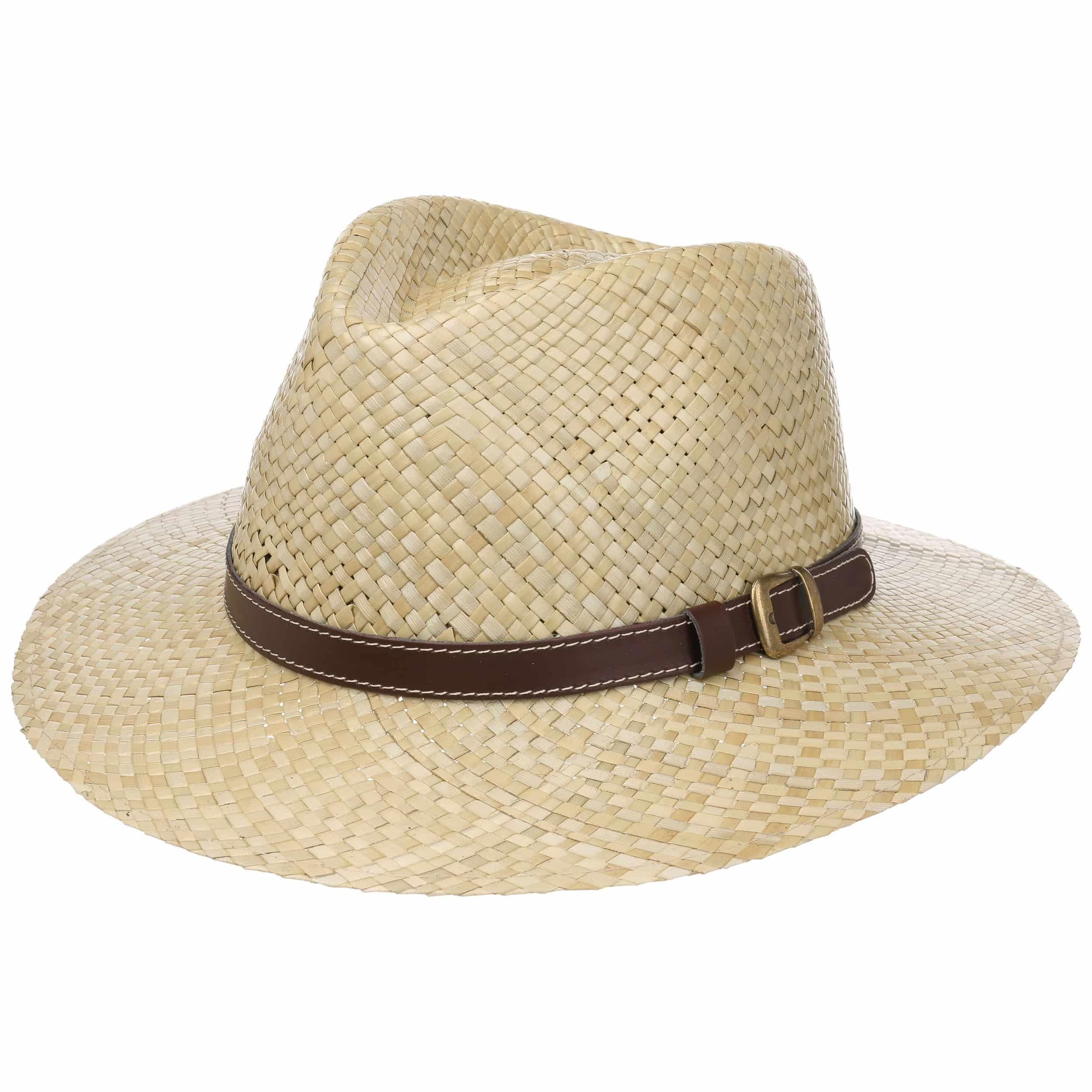 Made in Italy Sun Summer Beach with Grosgrain Band Spring-Summer Lipodo Black Traveller Straw Hat Men