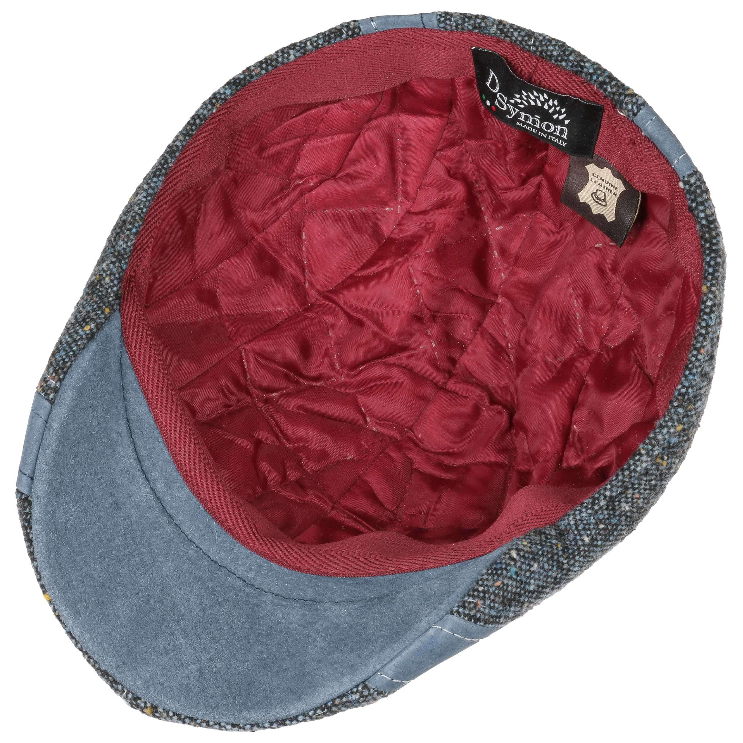 Lierys Ciro Tweed Flat Cap with Leather Men Made in Italy