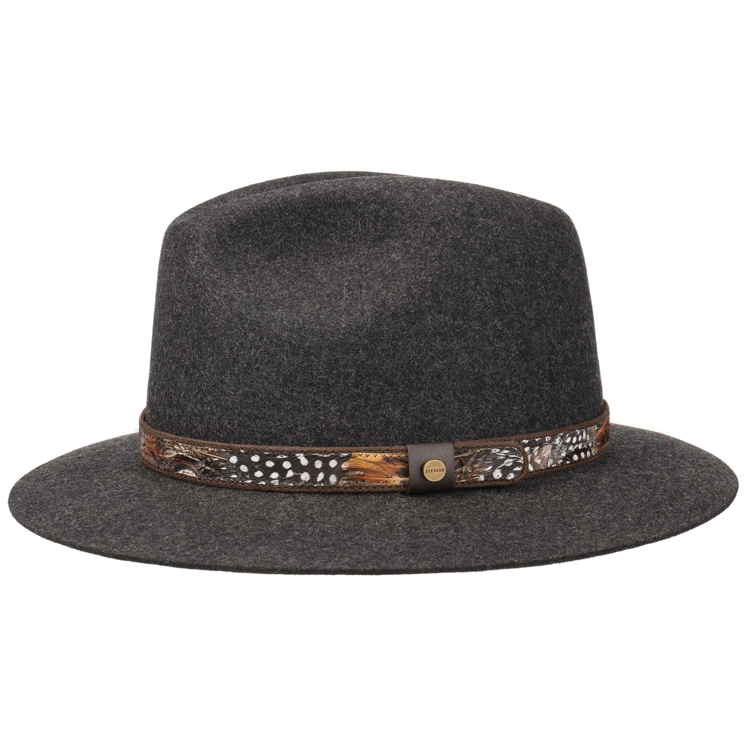 ... Feather Trim Traveller Felt Hat by Stetson - anthracite-mottled 1 ... 3ef89c648f7