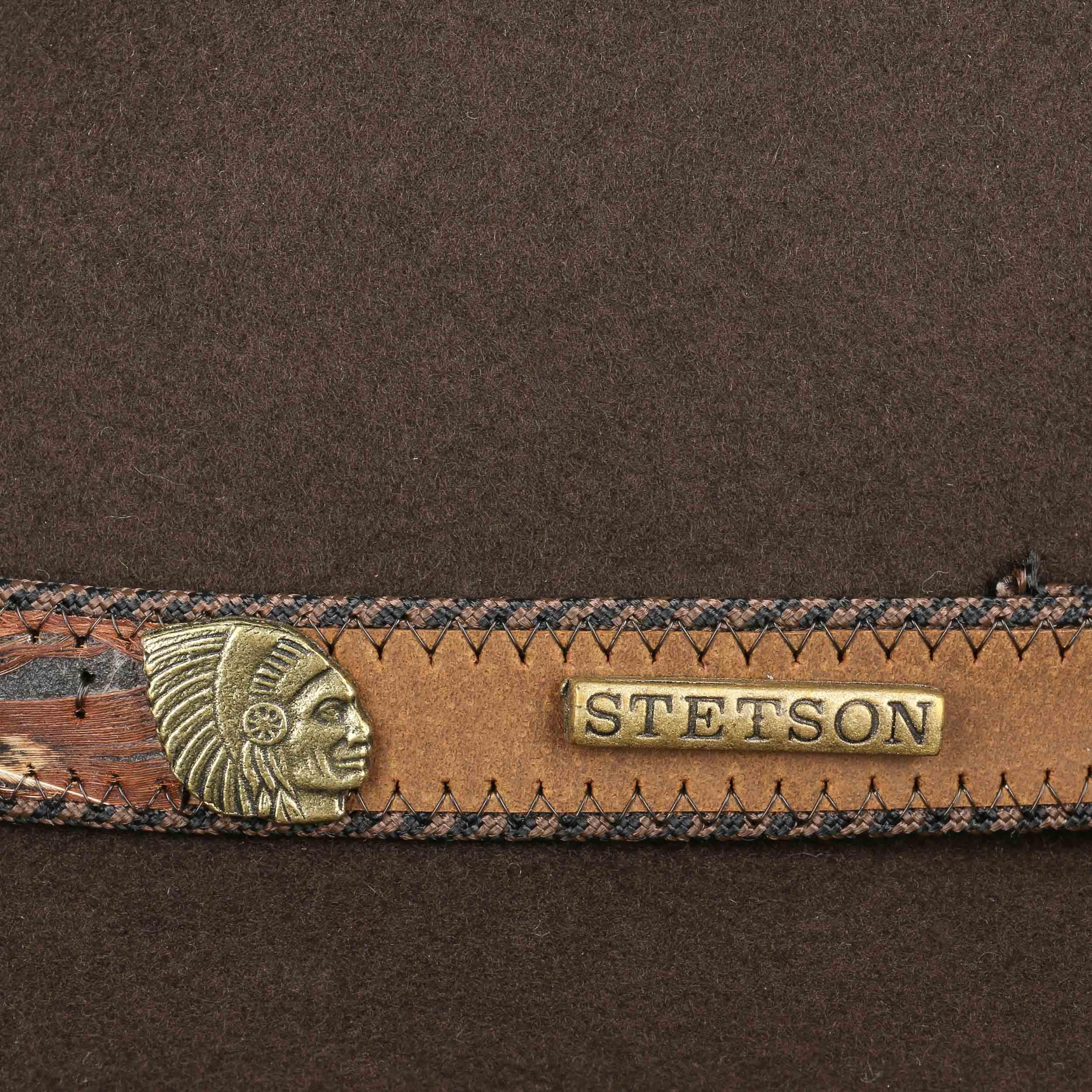 ... Feather Trim VitaFelt Hat by Stetson - brown 3 ... ffd6376146b