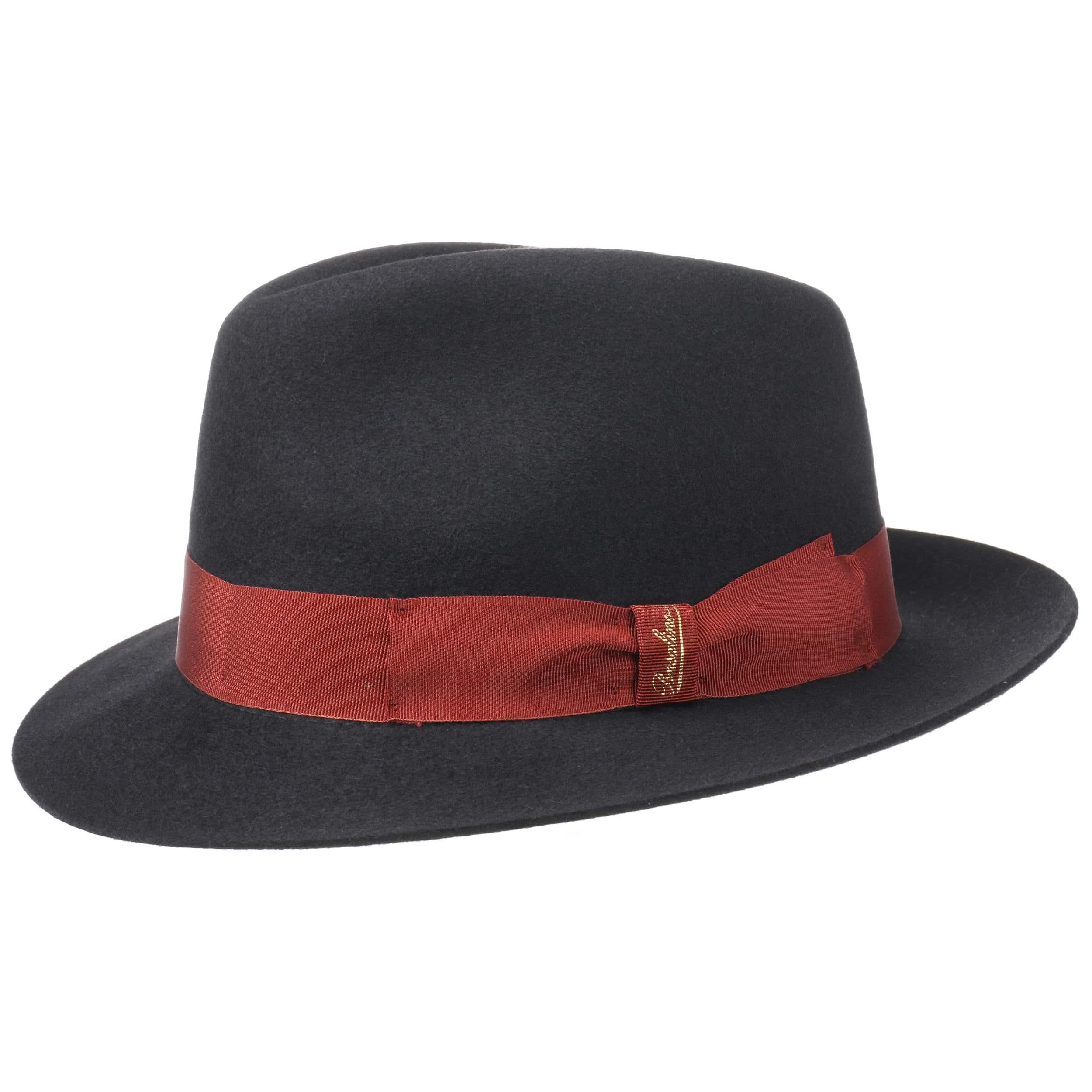 ... Finissimo Twotone Fedora Hat by Borsalino - black-red 5 ... c26859642ec