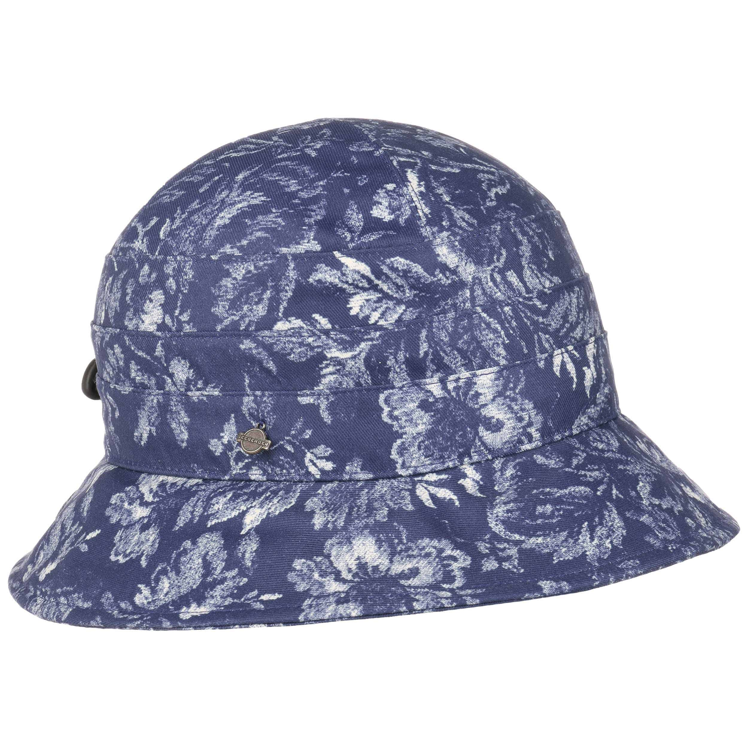 ... Flowery Cloche Rain Hat by Seeberger - blue 1 a0cb2ff56af