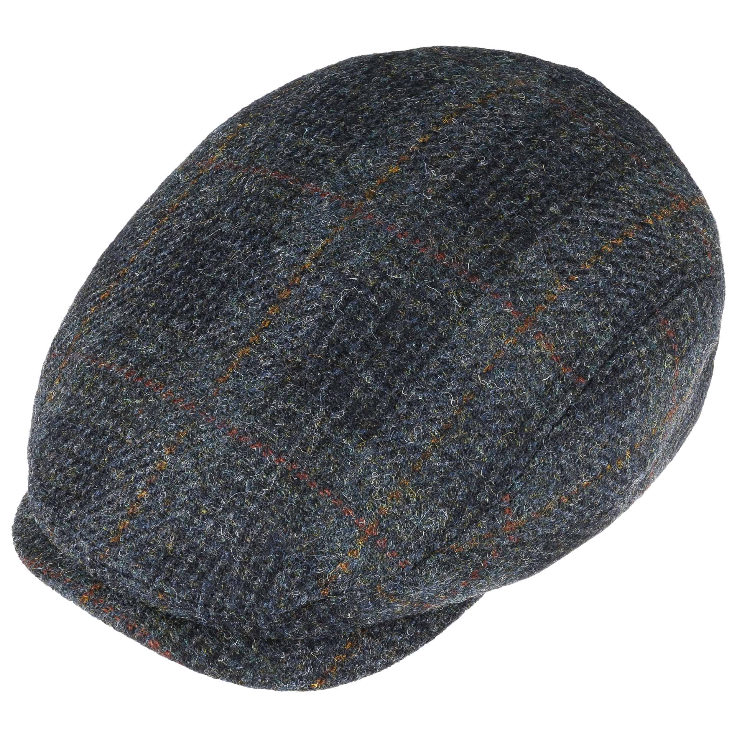 Harris Tweed Check Flat Cap by Stetson - blue 1 ... 56d6bd6cd835