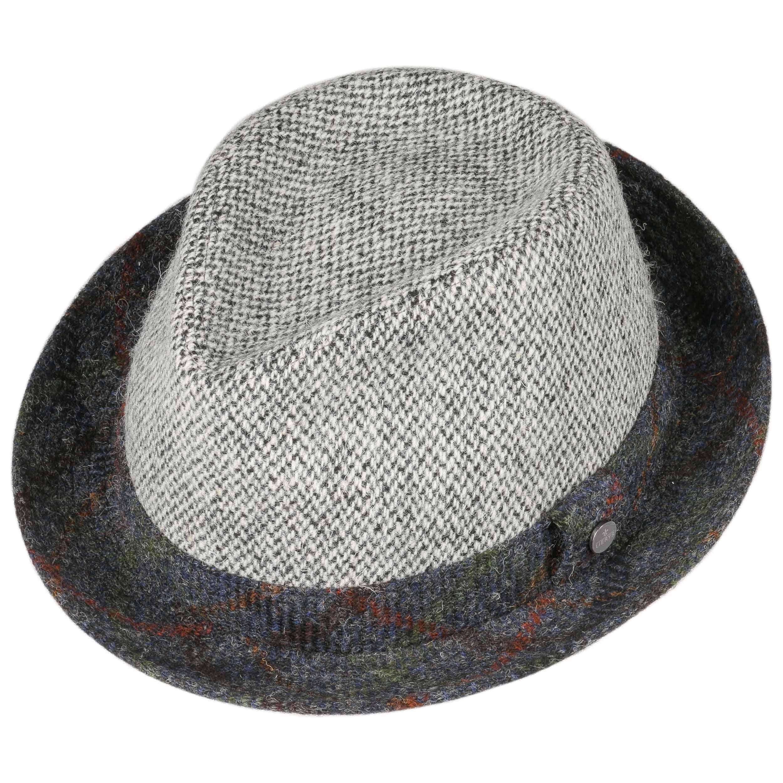Harris Tweed Player Hat Wool Hat by Lierys - black-white 1 ... fd163fef04f