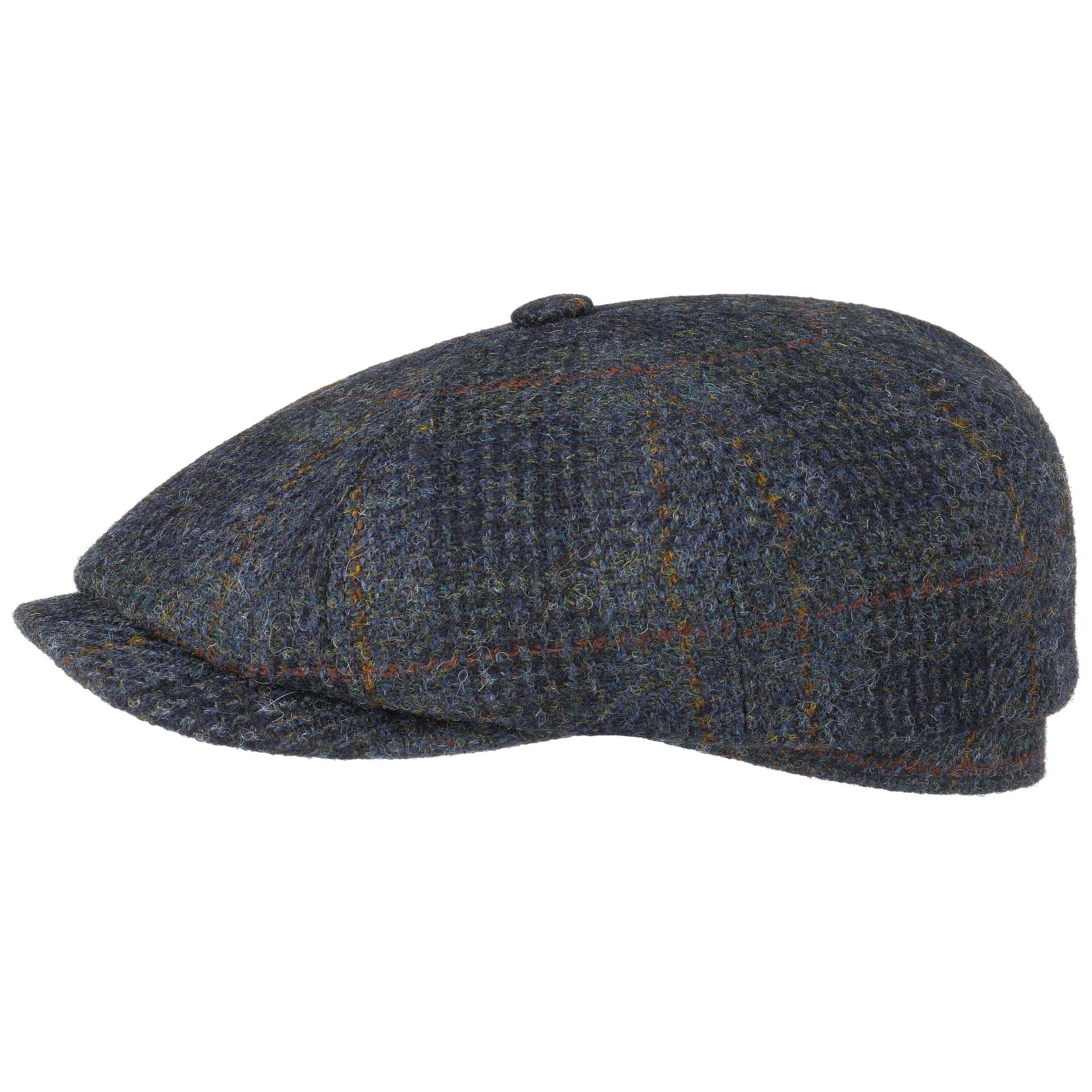 25e777f3c7d ... Hatteras Harris Tweed Check Flat Cap by Stetson - blue 1