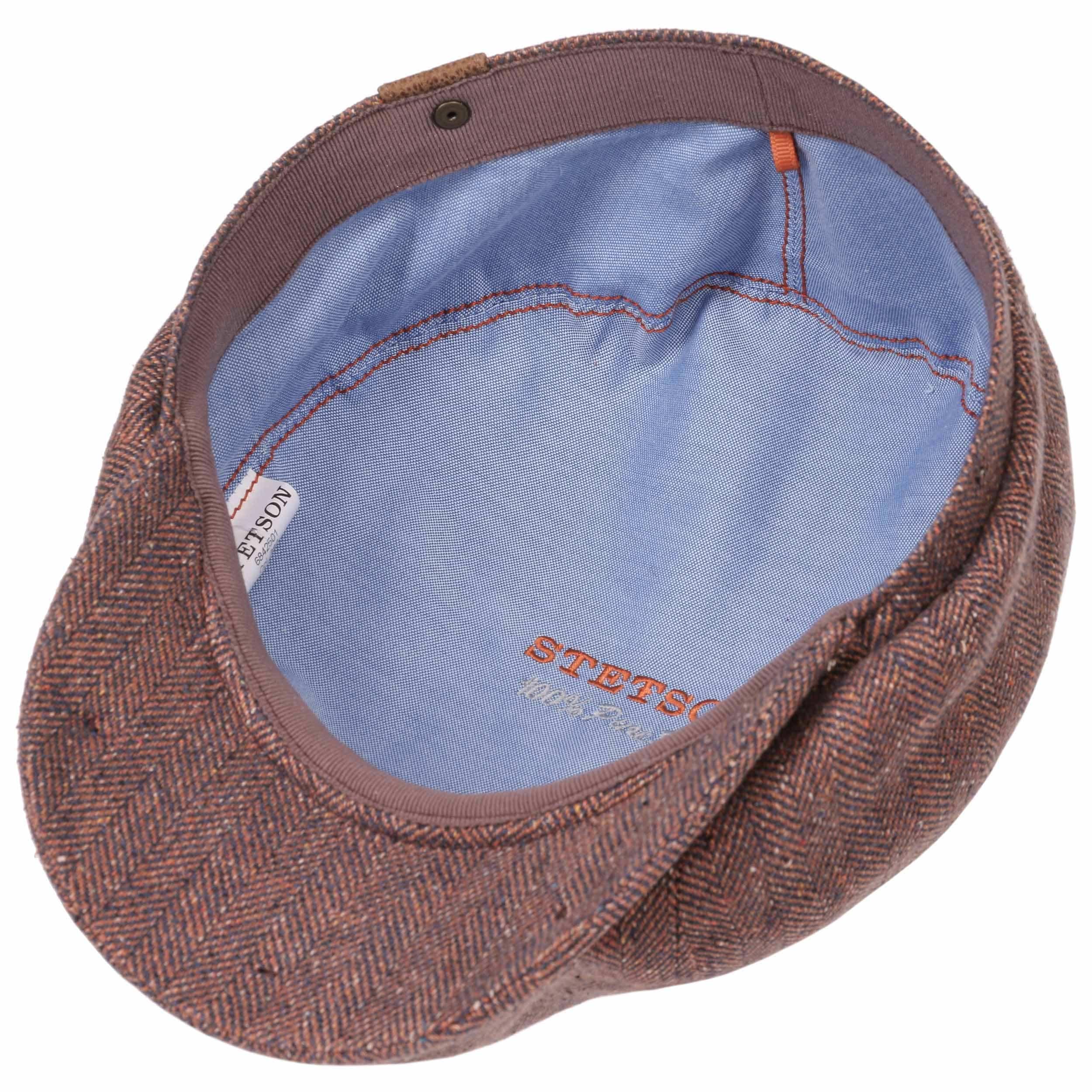 7f9f7f44e8294 ... Hatteras Silk Flat Cap by Stetson - rust-blue 2 ...