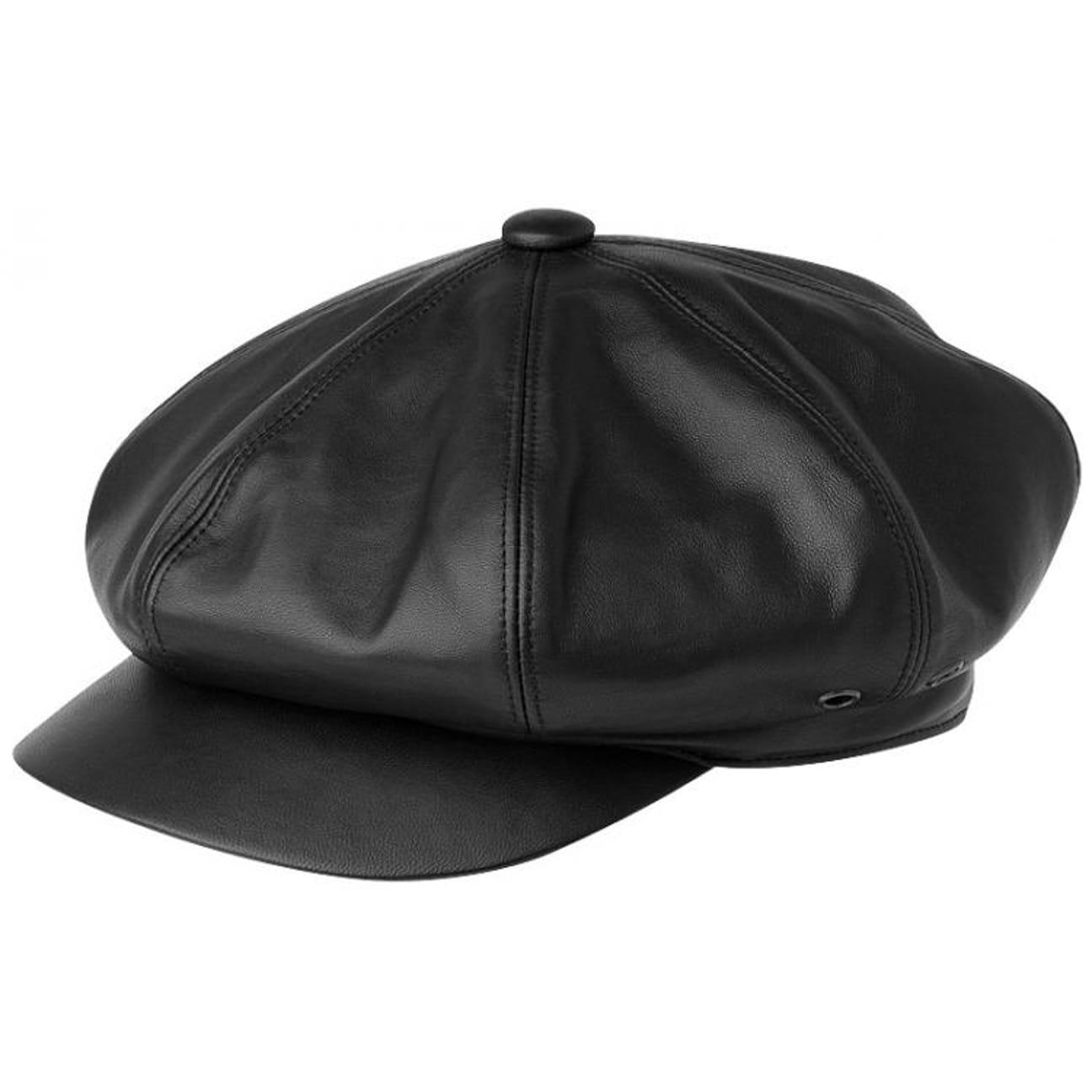 ... Kangol Leather Spitfire Newsboy Cap - black 1 750fd7d622a