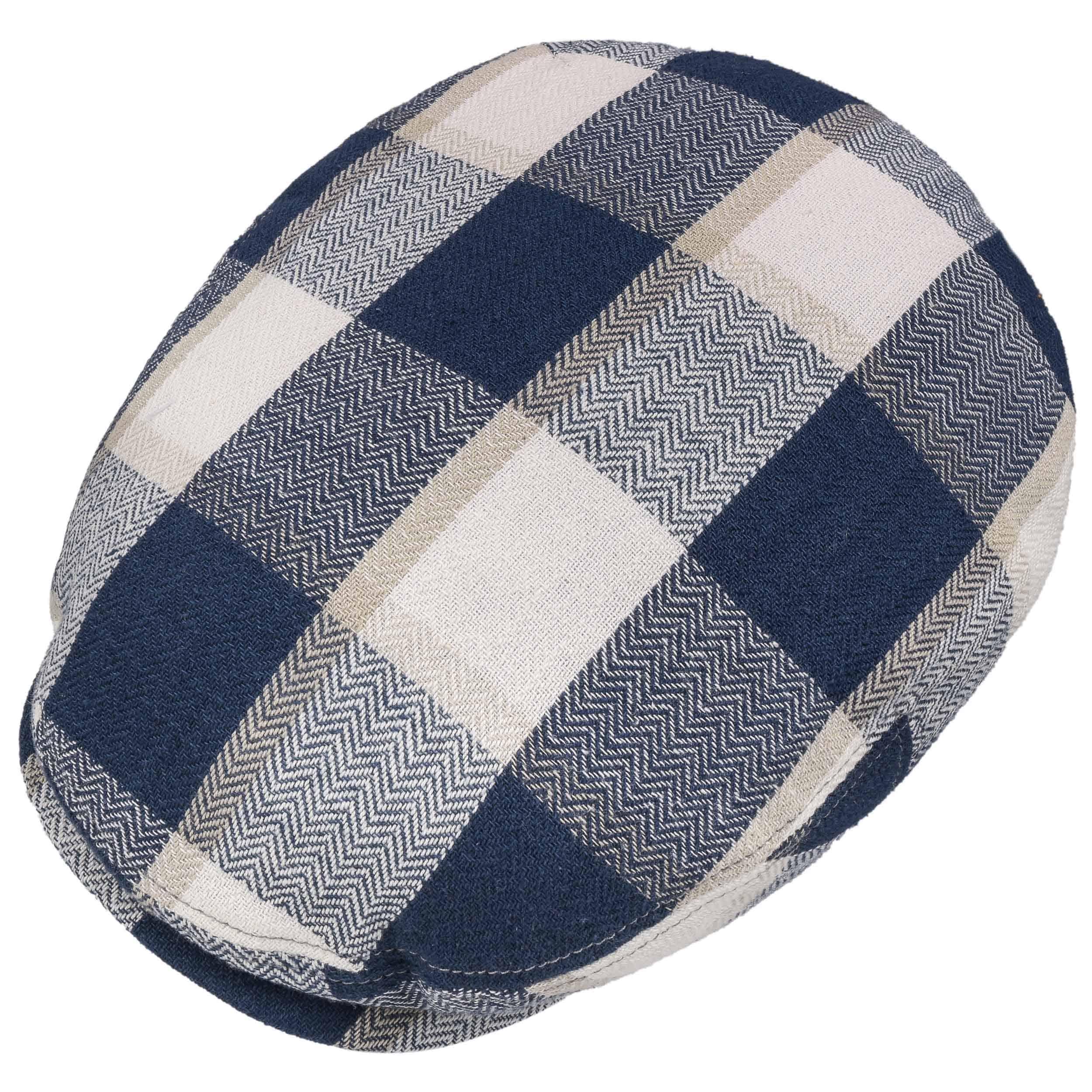 2907a4c9 Kent Check Linen Cap by Stetson - blue-beige 1 ...