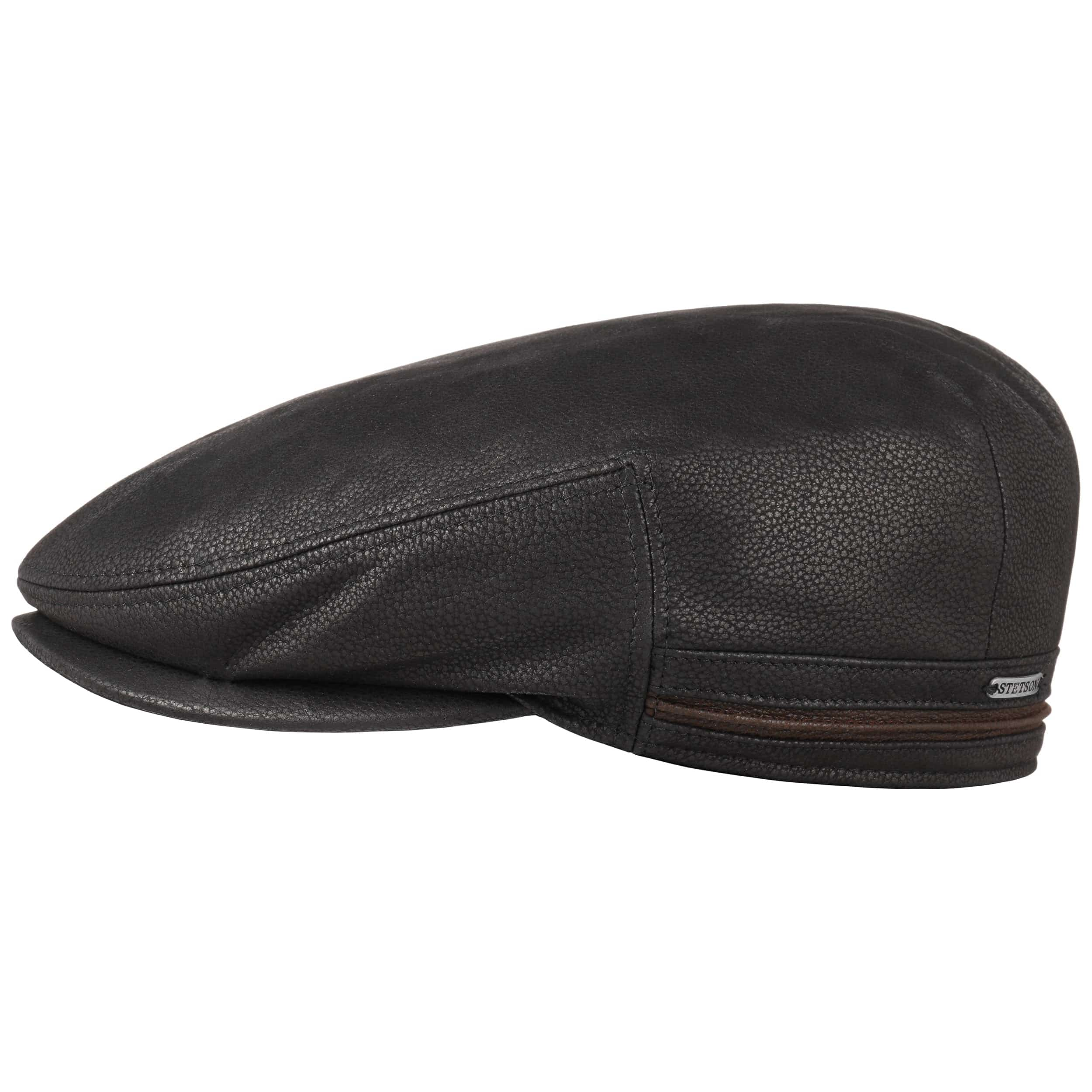 306c9568 ... brown 6 · Kent Earflaps Leather Flat Cap by Stetson - black 1 ...