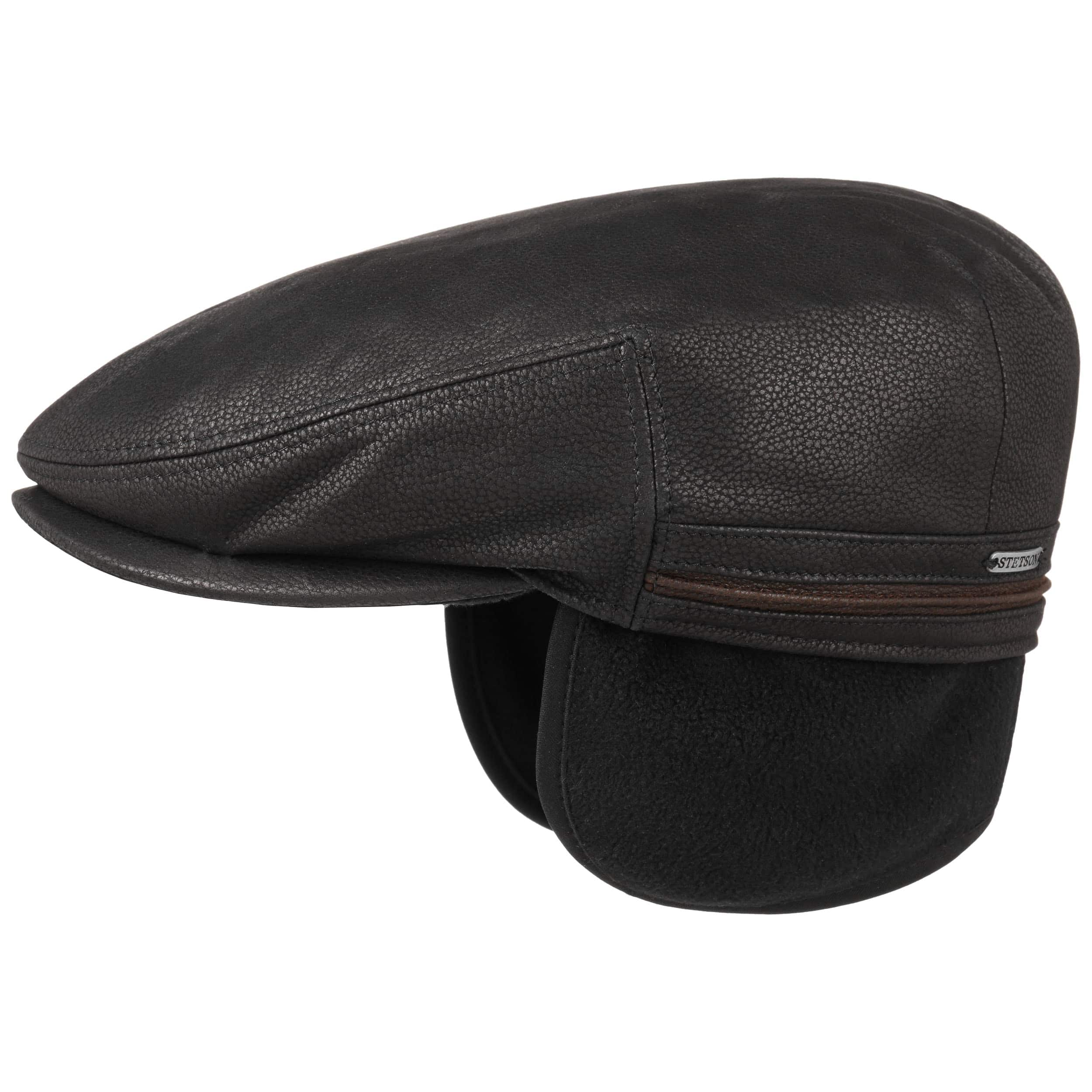 beaeb24ac7d Kent earflaps leather flat cap stetson hats caps jpg 2500x2500 Leather hat  with ear flaps