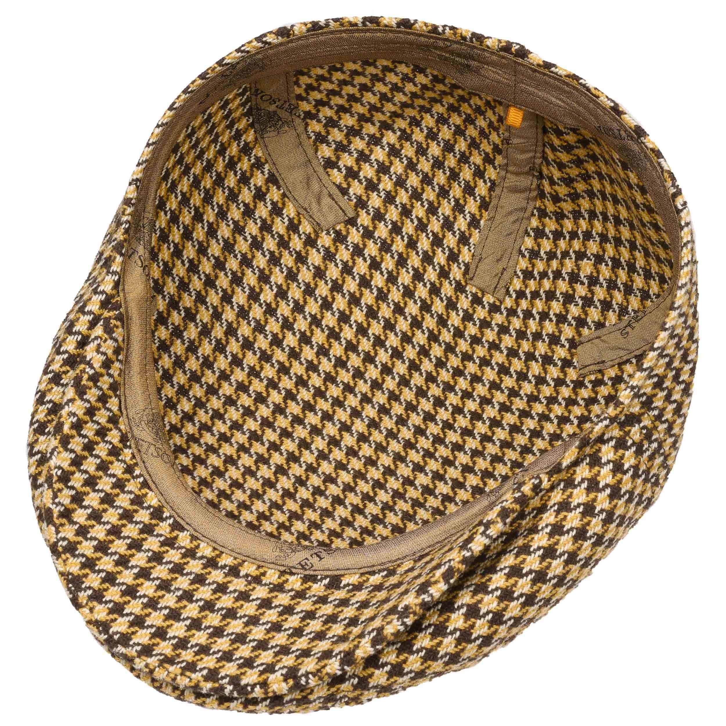 ... Kent Silk Houndstooth Flat Cap by Stetson - beige 2 ... c75a858ae64