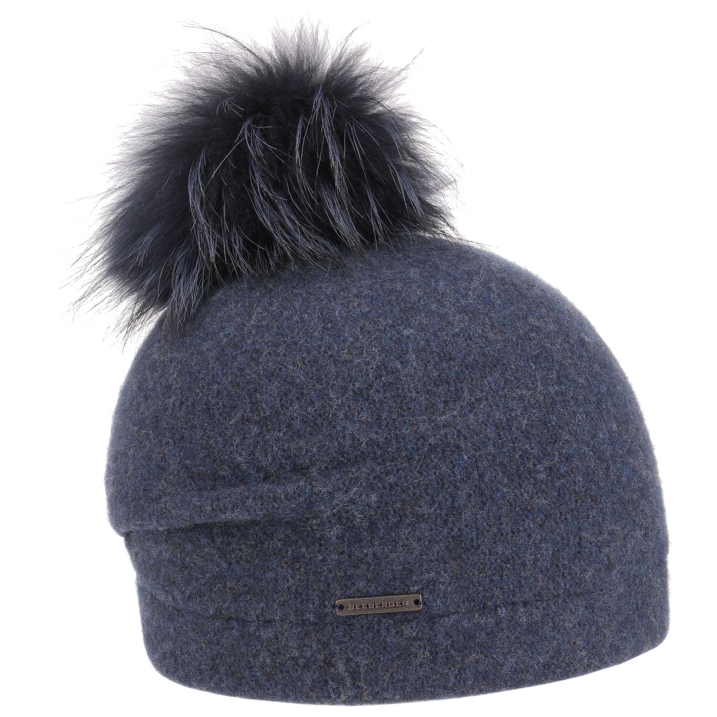 6ef18346e3c ... Laja Milled Wool Pompom Hat by Seeberger - blue 4 ...