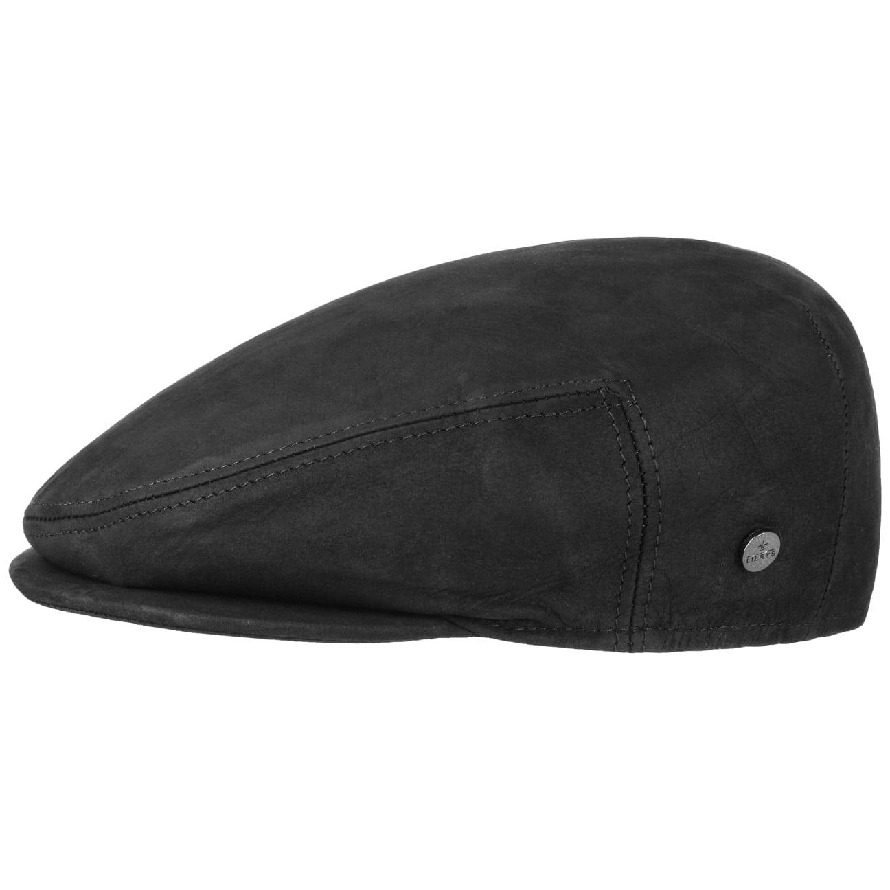 ... Leather Flat Cap by Lierys - black 1 691975a0921