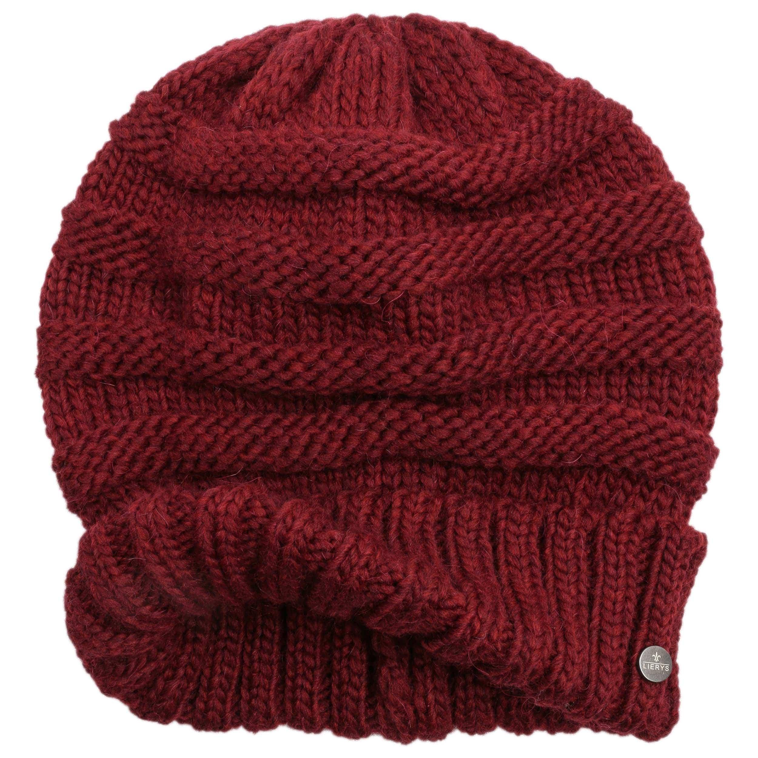 f61d1d1c043262 ... Long Beanie Knit Hat by Lierys - dark red 1 ...