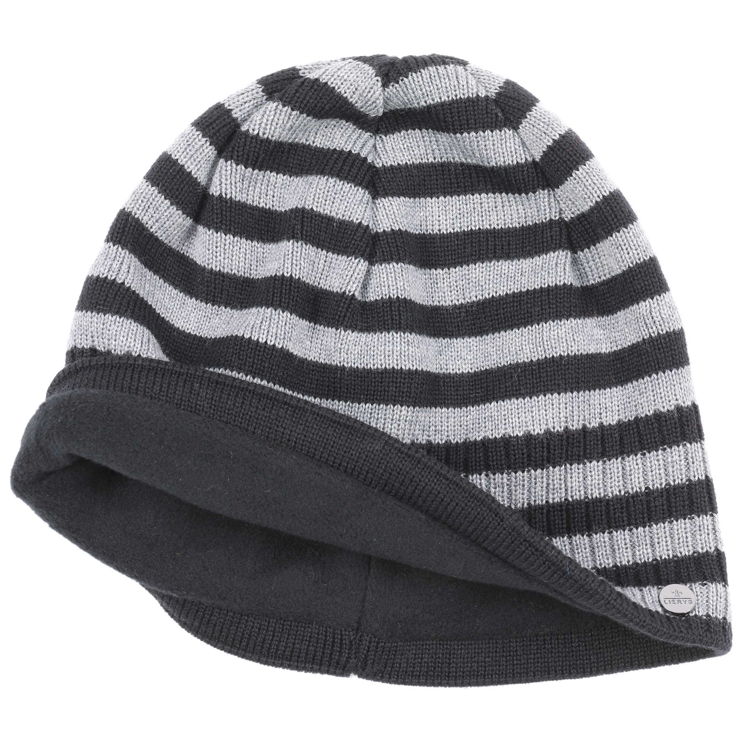 11b7c3a4f31cdc ... Merino Stripes Beanie Knit Hat by Lierys - black 1 ...
