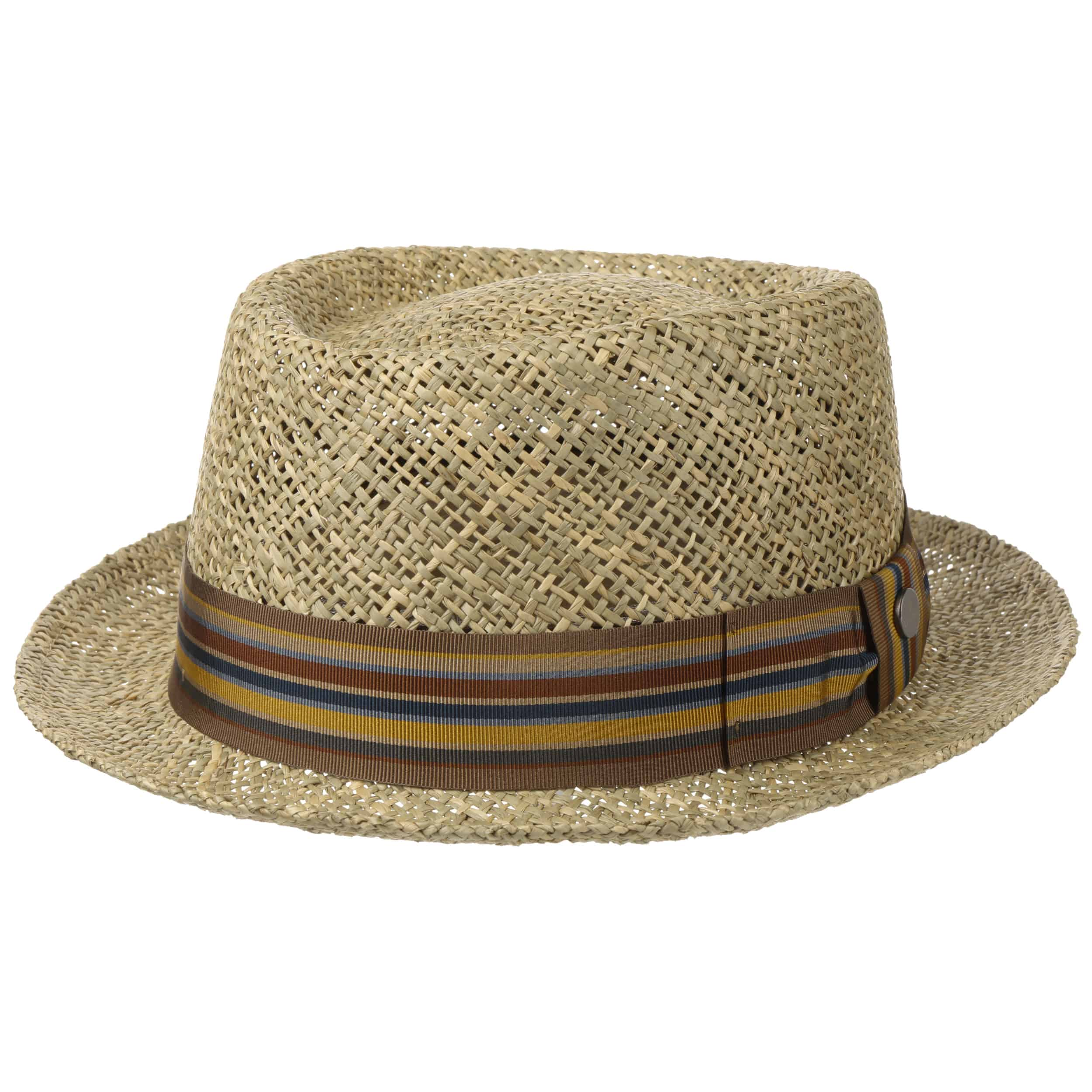 Summer Hat with Leather Band Sizes M-L Made in Italy Lipodo Coyuca Vented Pork Pie Straw Hat Sun Hat Men and Women Hat Made of 100/% Straw