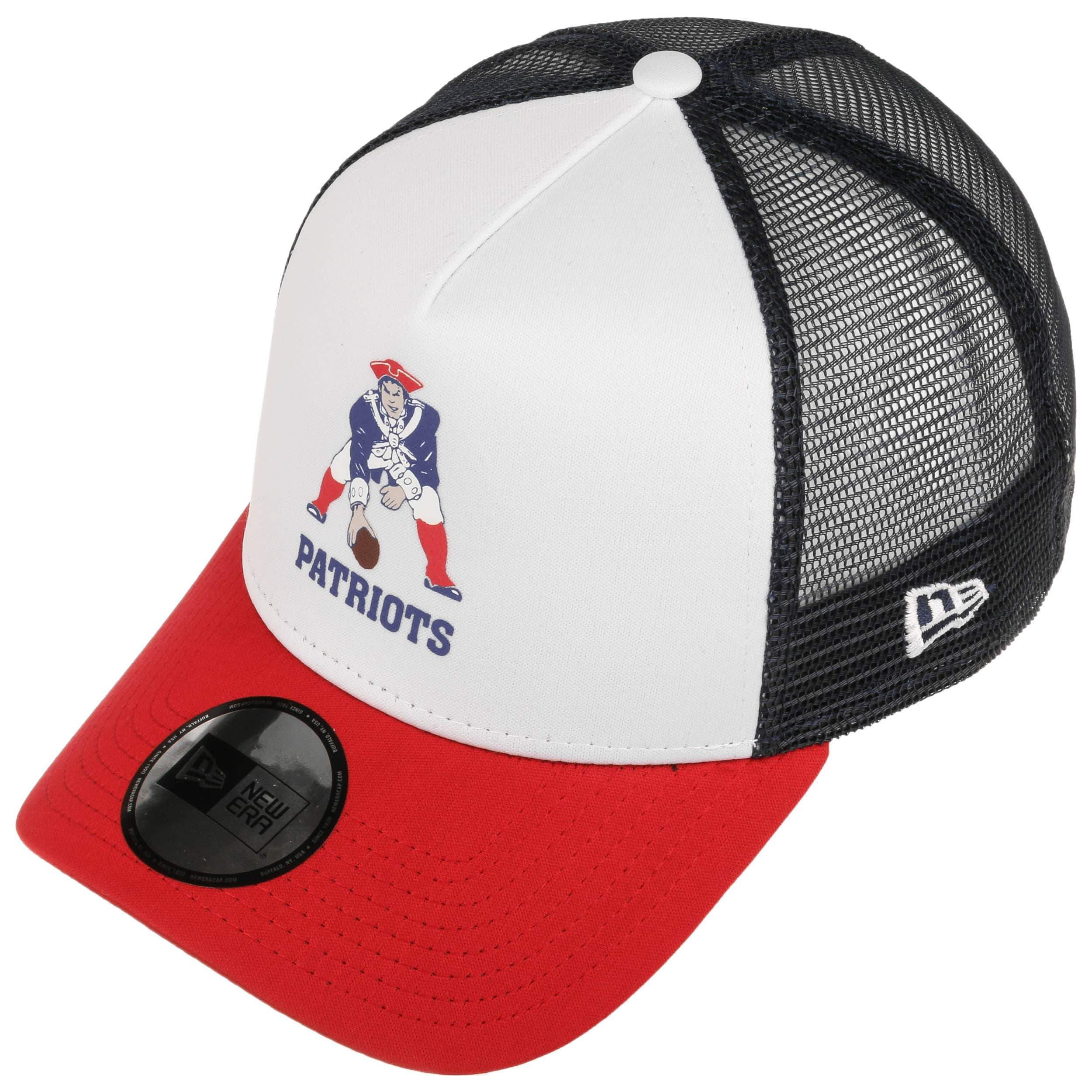 NFL Throwback Trucker Patriots Cap by New Era - white 1 ... 0c8bac3499a