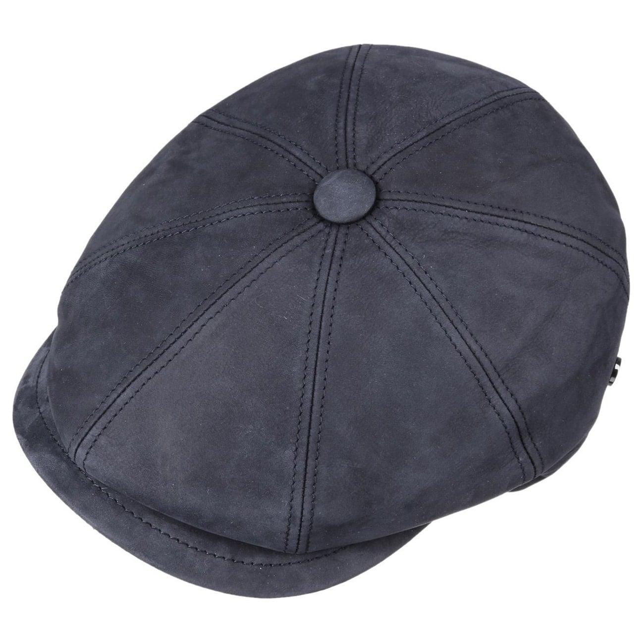 447bf6c5a76f59 ... Nappa Wax Leather Flat Cap by Lierys - blue 2 ...