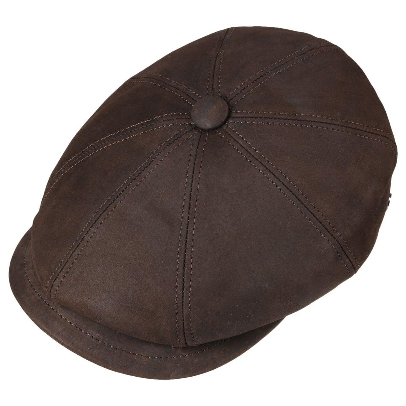 7f0e89cc7fa86f ... Nappa Wax Leather Flat Cap by Lierys - dark brown 2 ...