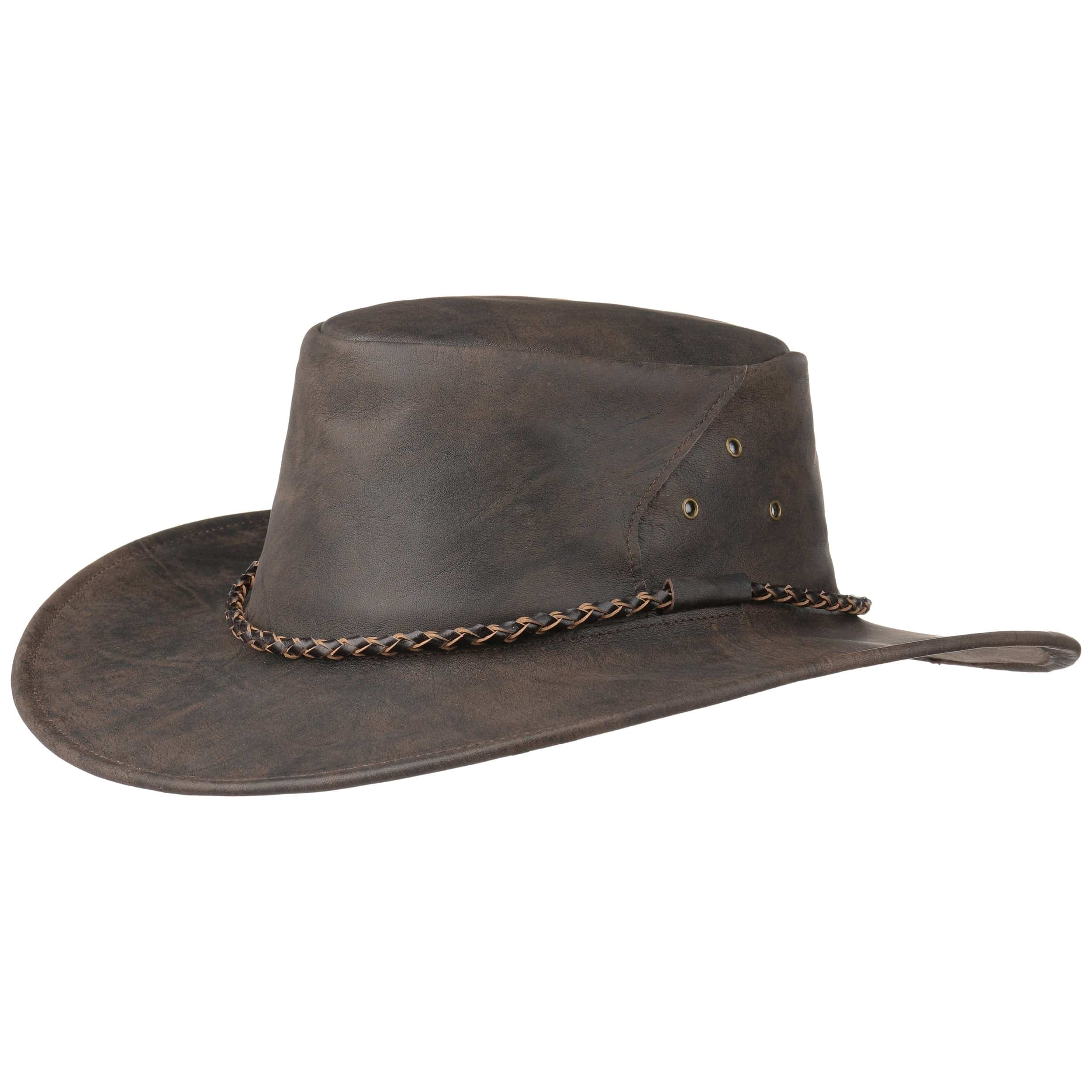 095cfd86d15 ... Narrabeen Leather Hat by Kakadu Traders - brown-mottled 6