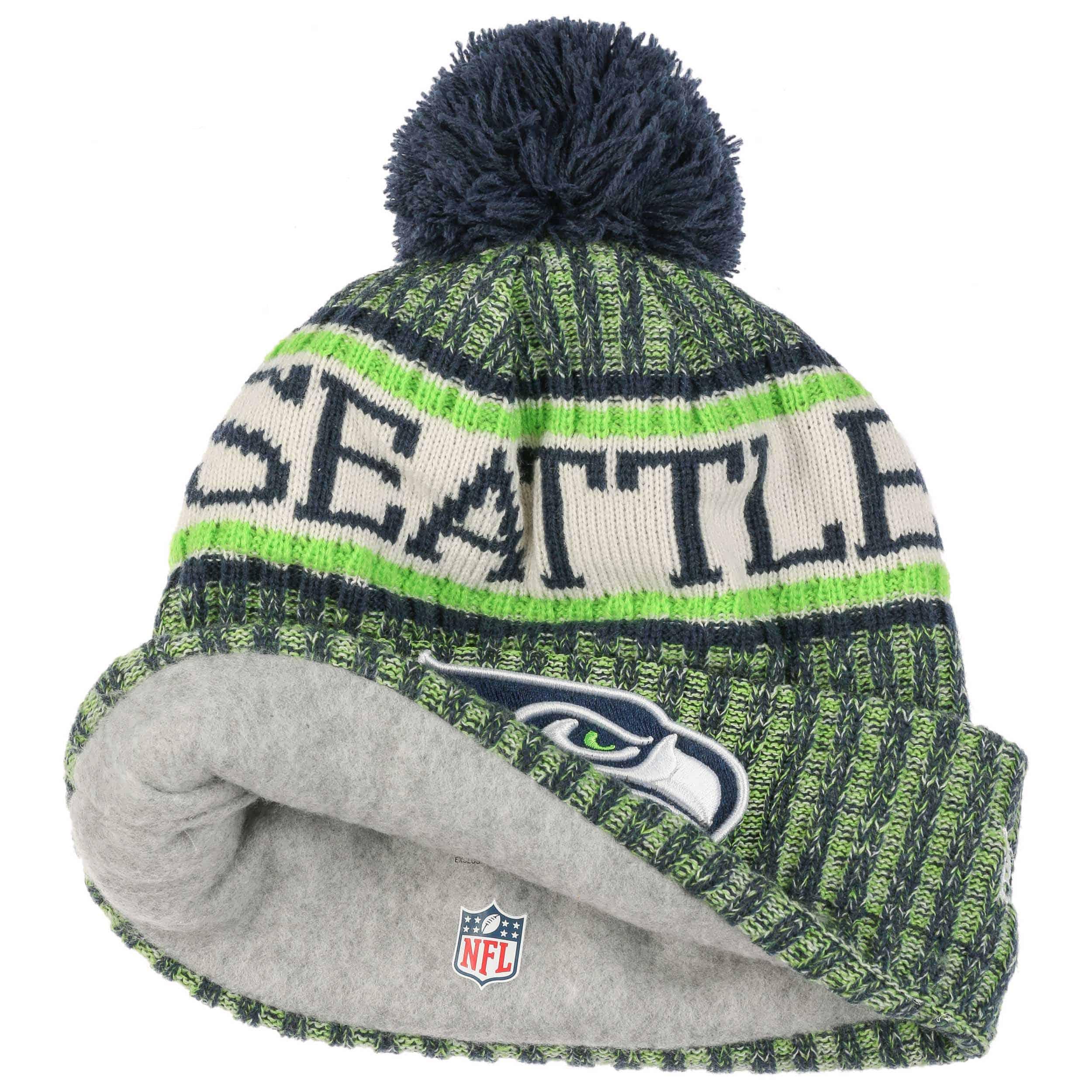 0017f4dbd63 On-Field 18 Seahawks Beanie Hat by New Era - green 1 ...
