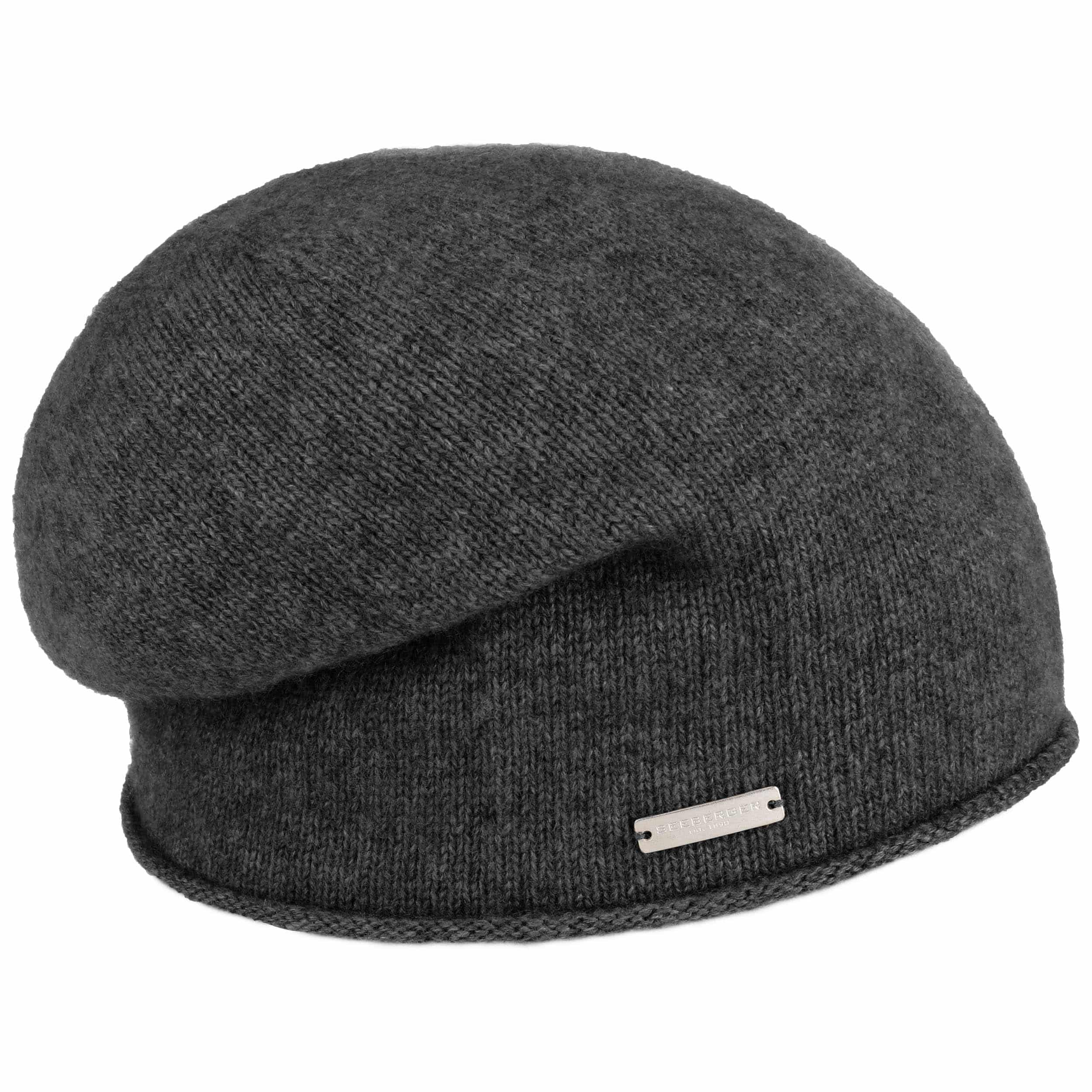 68f7683afdf ... Rolled Edge Cashmere Beanie by Seeberger - anthracite 4 ...