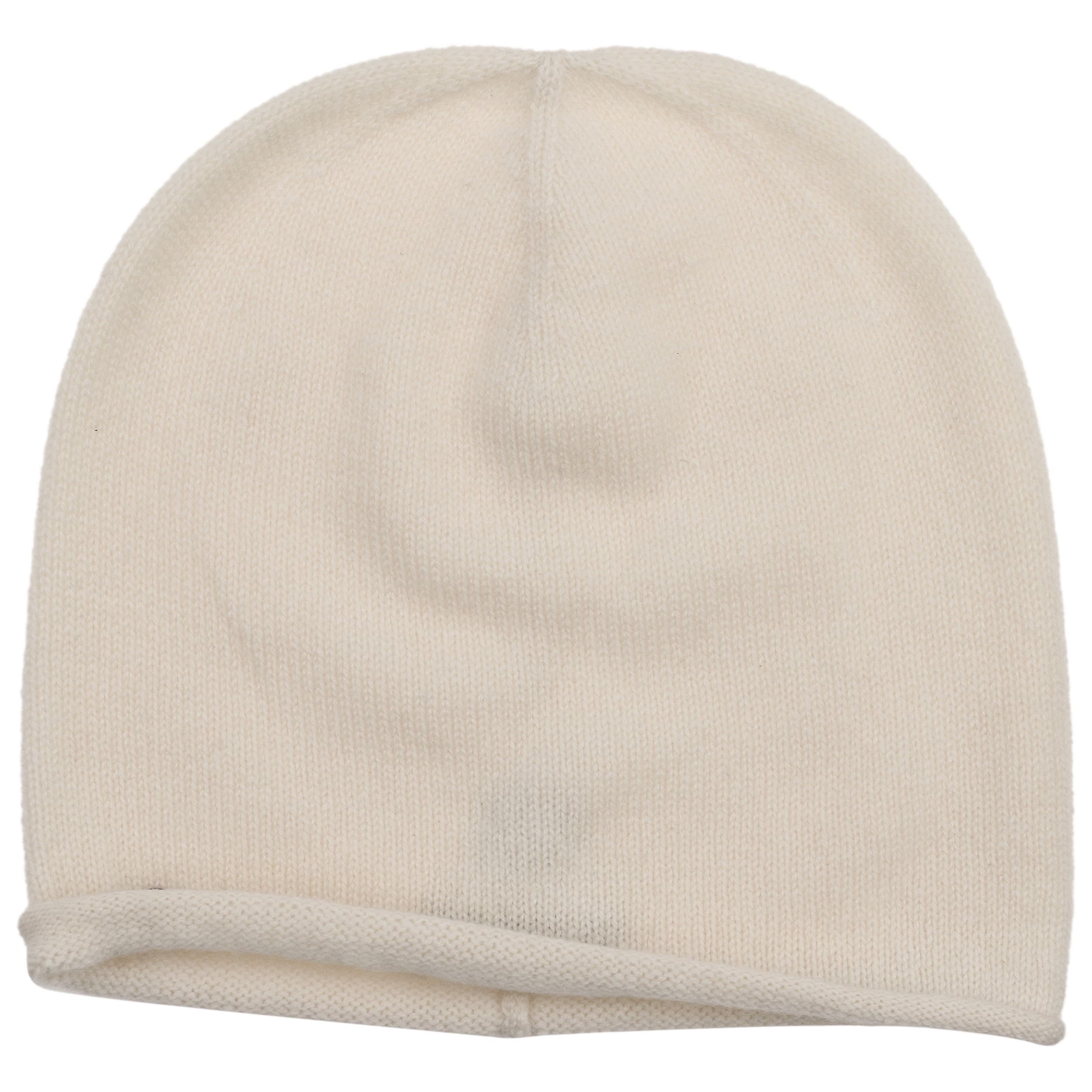 812b93dd97c ... Rolled Edge Cashmere Beanie by Seeberger - cream white 1 ...