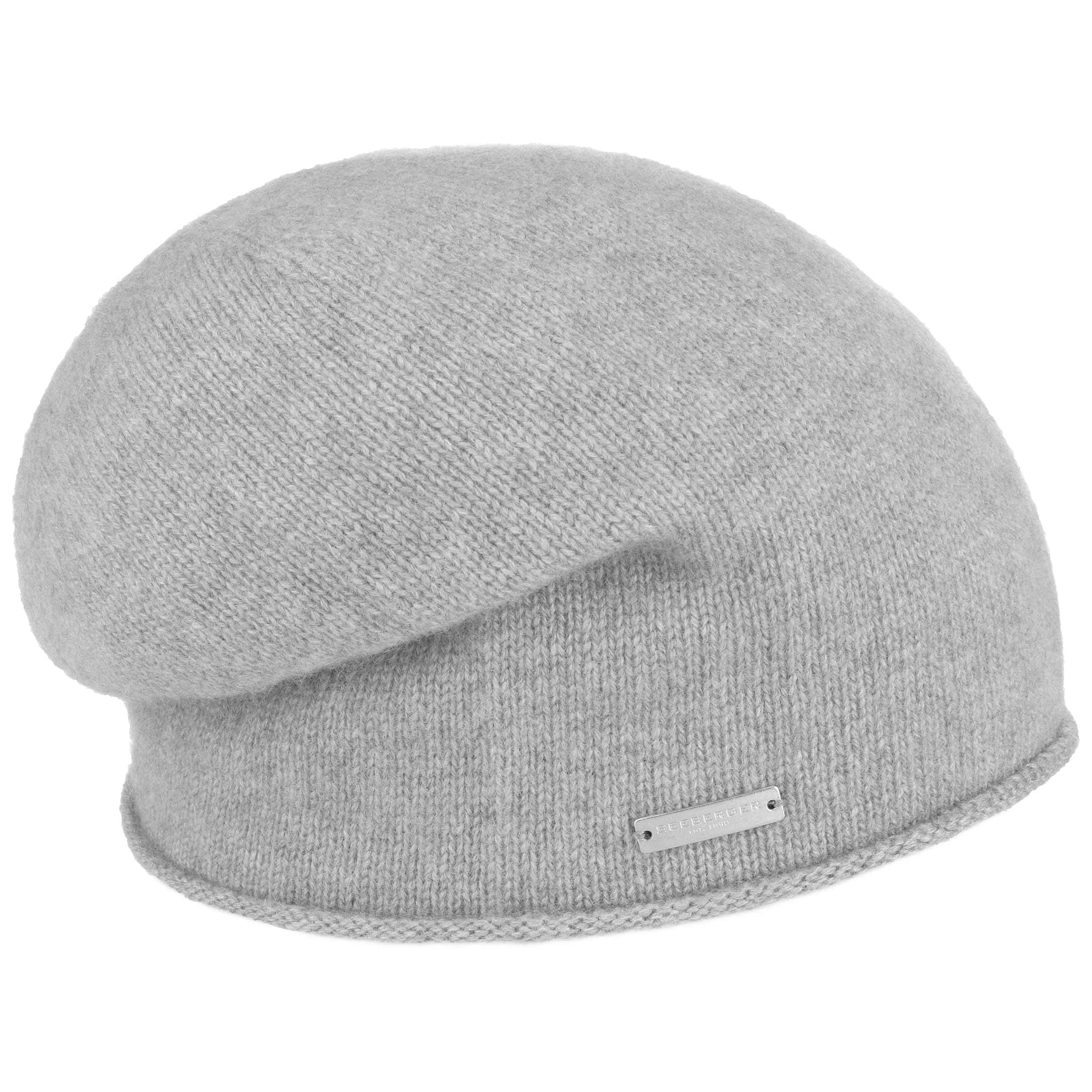3551e97c52c ... Rolled Edge Cashmere Beanie by Seeberger - light grey 3 ...