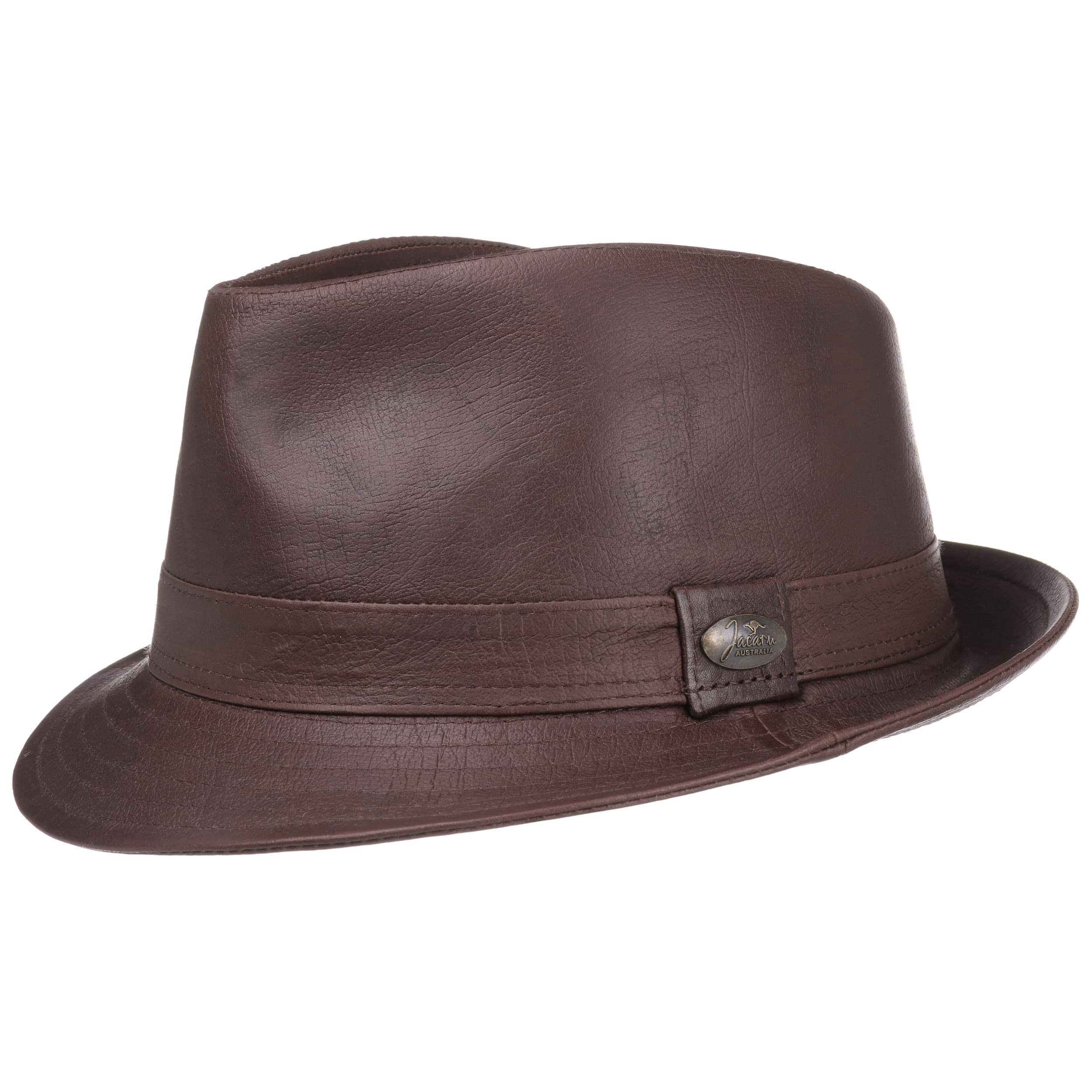 50b0a056634 ... Roo Trilby Leather Hat by Jacaru - brown 5 ...