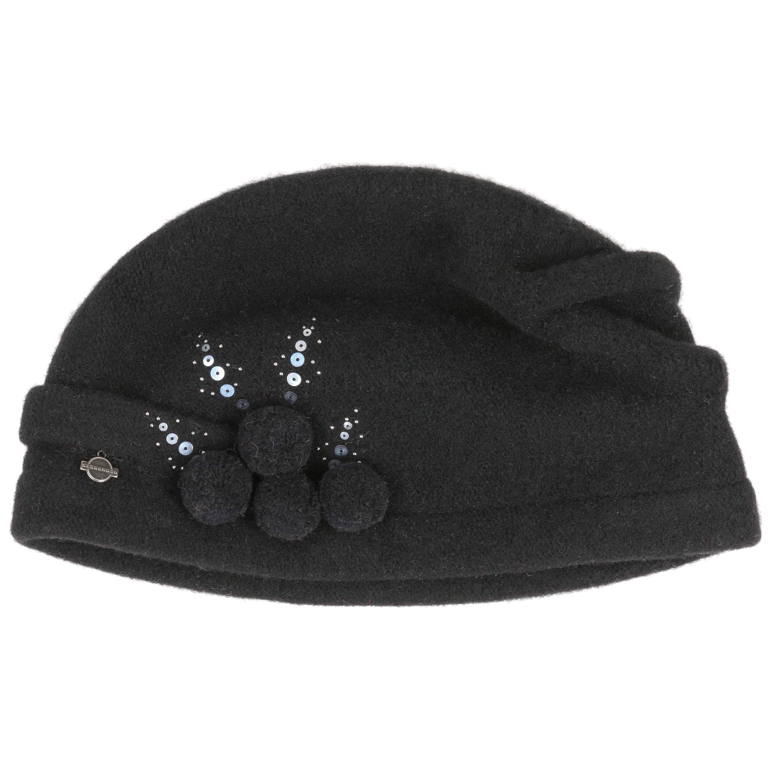 ... Sequin Milled Wool Hat by Seeberger - black 1 ... f3e80a11046a