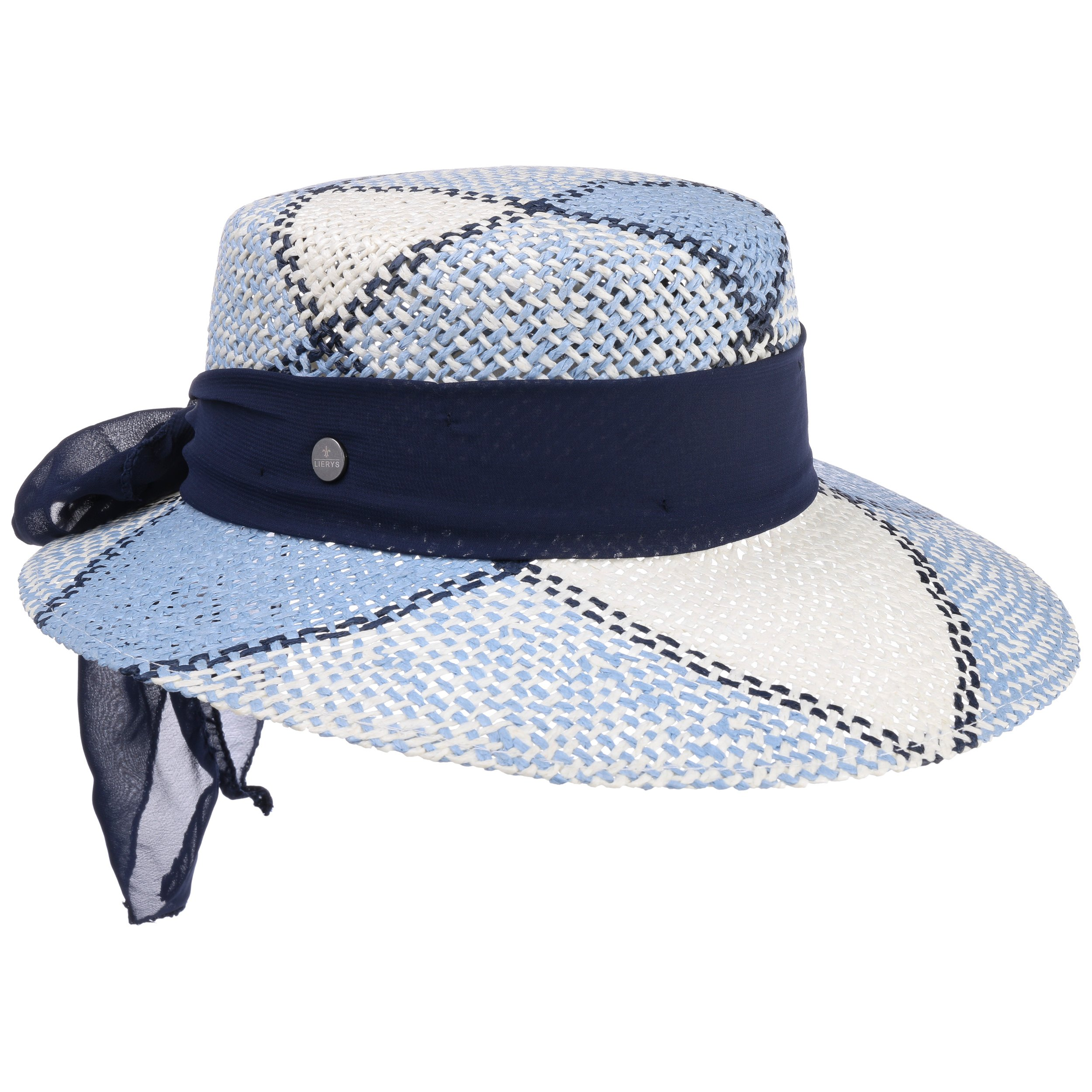 96b183f37c6 ... Straw Hat with Cloth Band by Lierys - blue 5