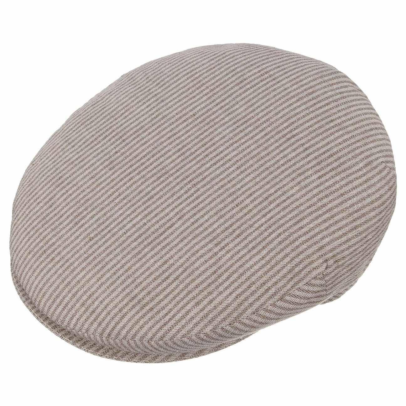 Stripe Cotton Flat Cap by Borsalino - beige 2 ... 929e3680cd51
