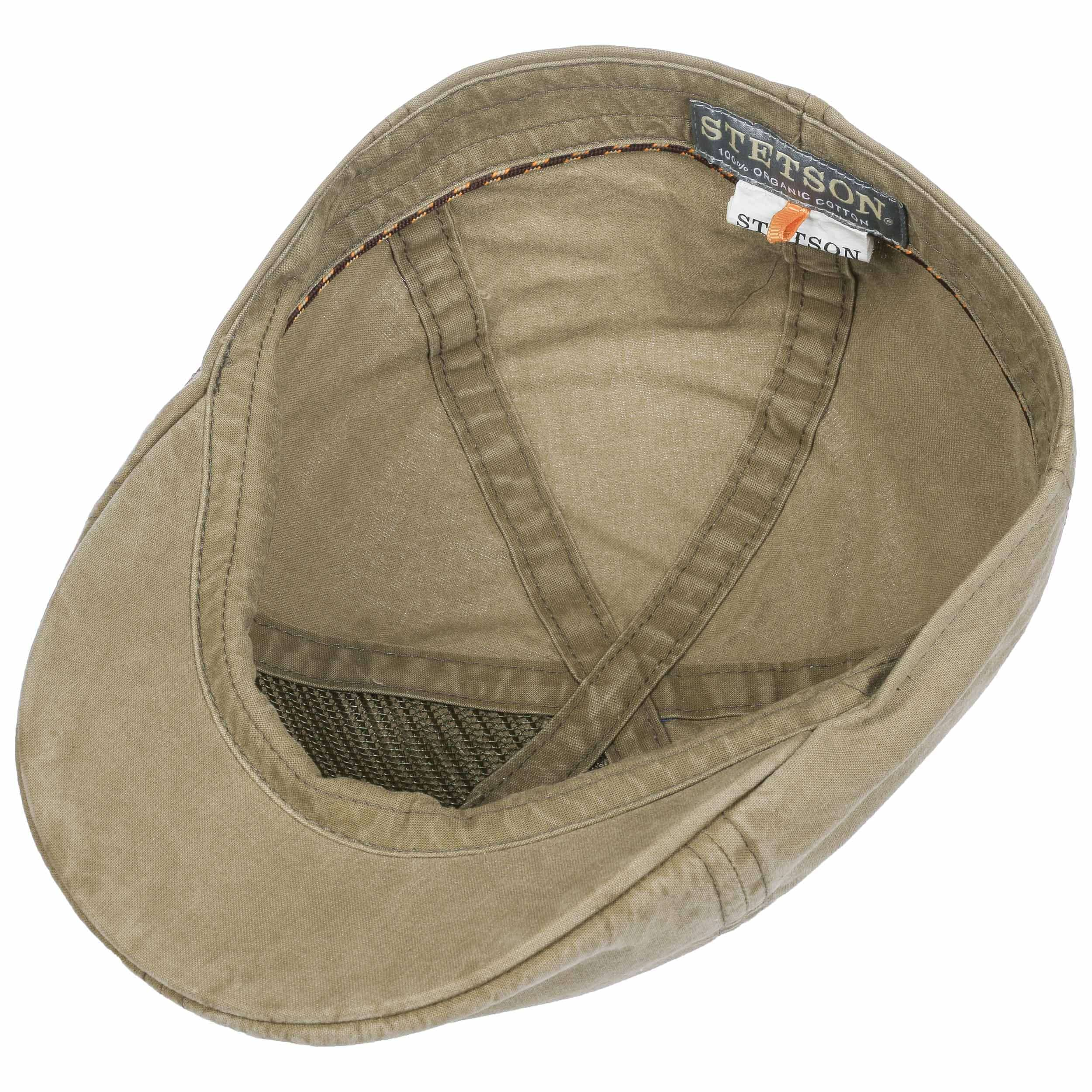 7619c49ac0f ... Texas Organic Cotton Flat Cap by Stetson - dark beige 2 ...