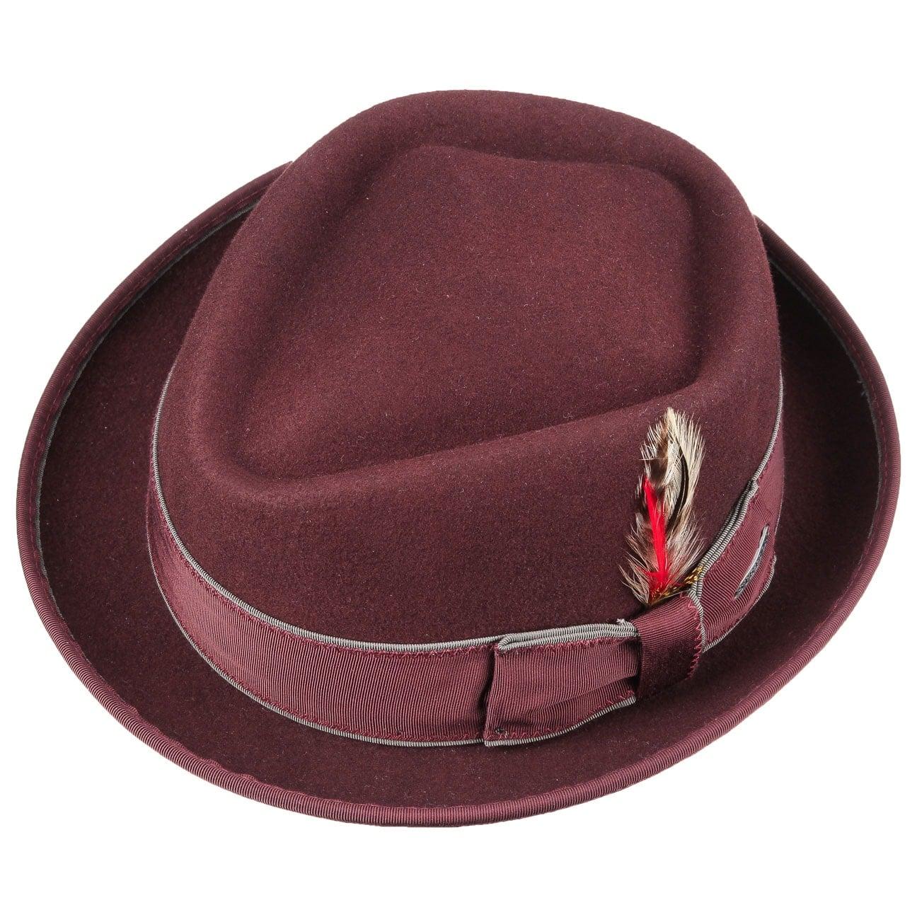 23988ad6d1c ... Thornton VitaFelt Pork Pie Hat by Stetson - bordeaux 2 ...
