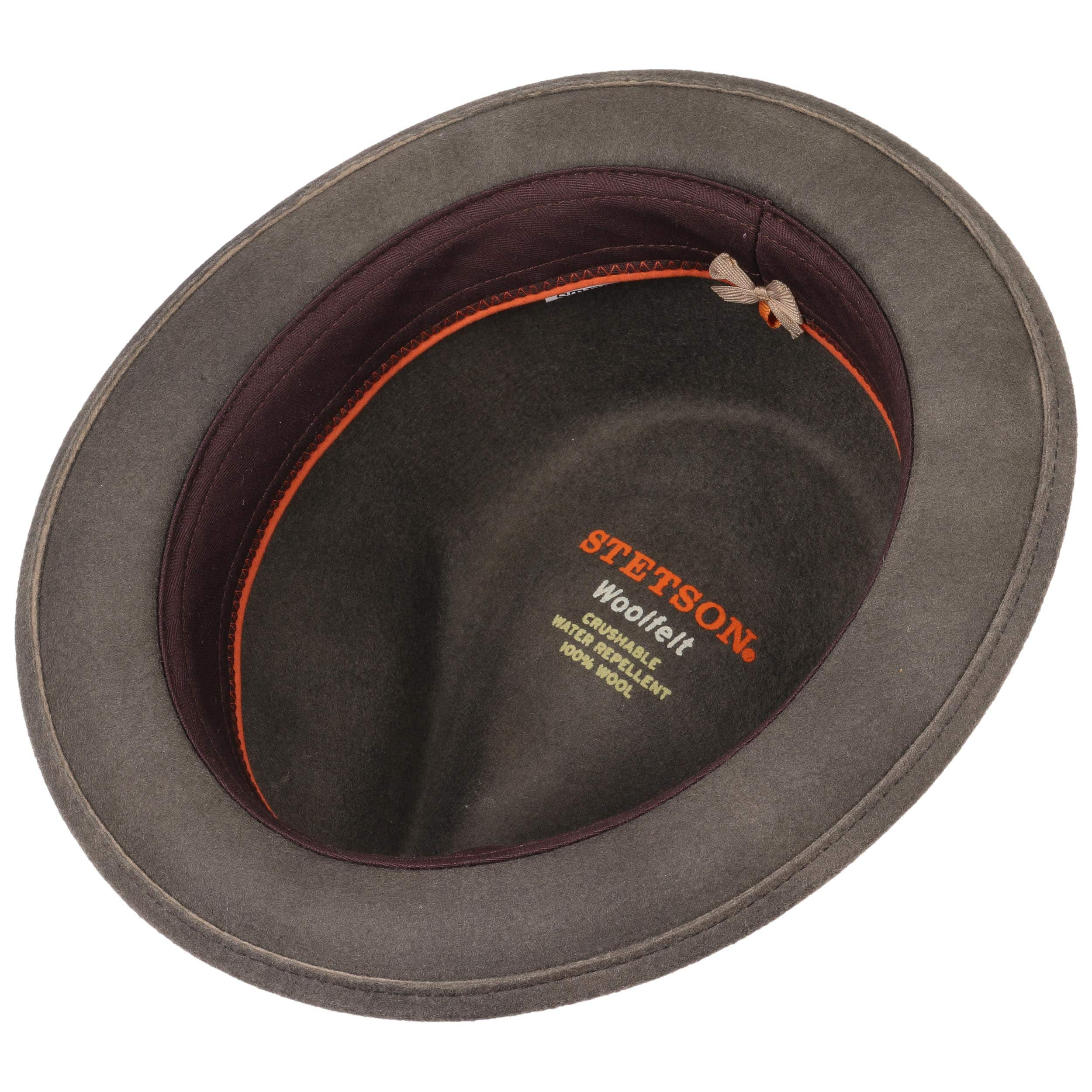 e978852277e ... Washed Look Fedora Felt Hat by Stetson - grey 2 ...