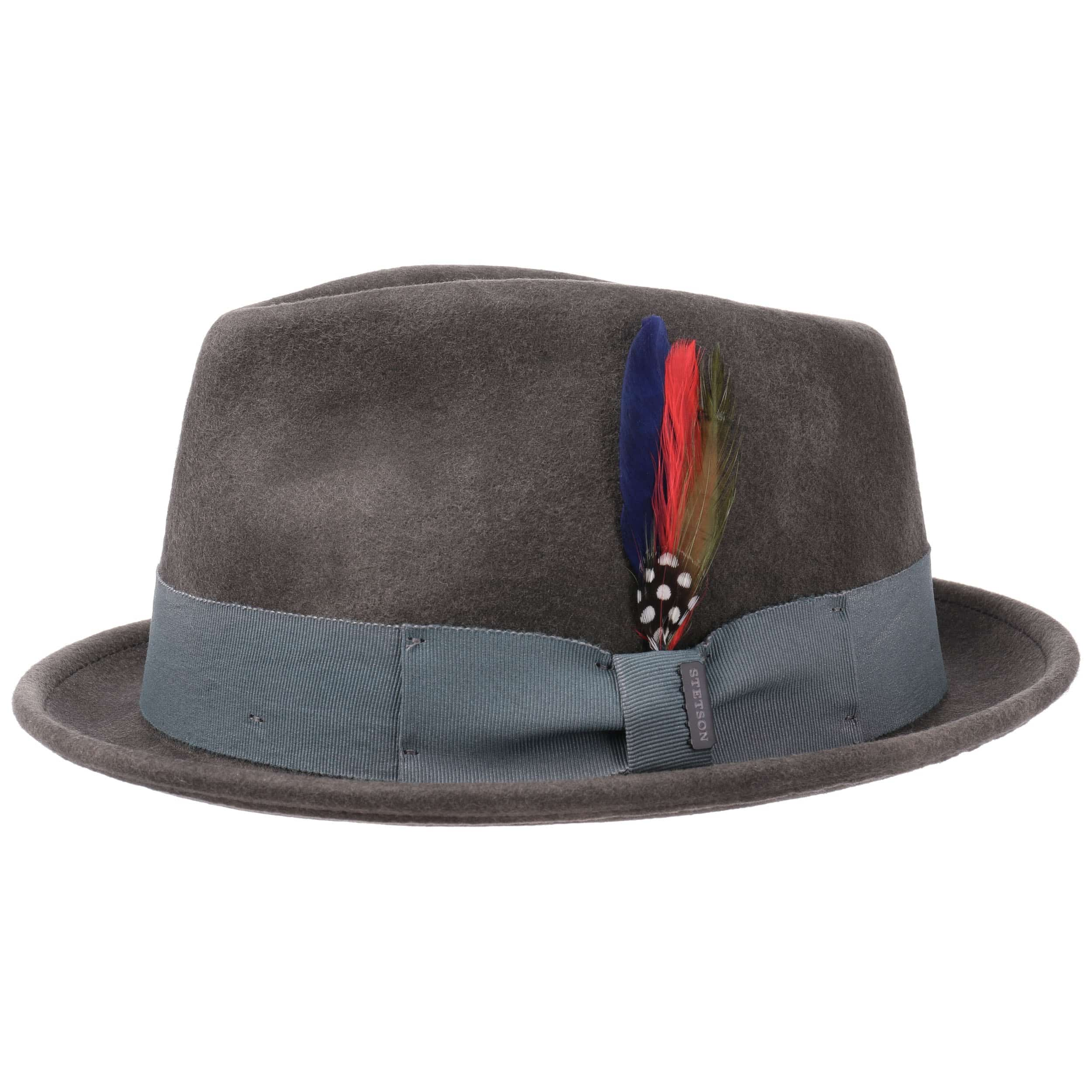 907462d809d ... Washed Look Fedora Felt Hat by Stetson - grey 5